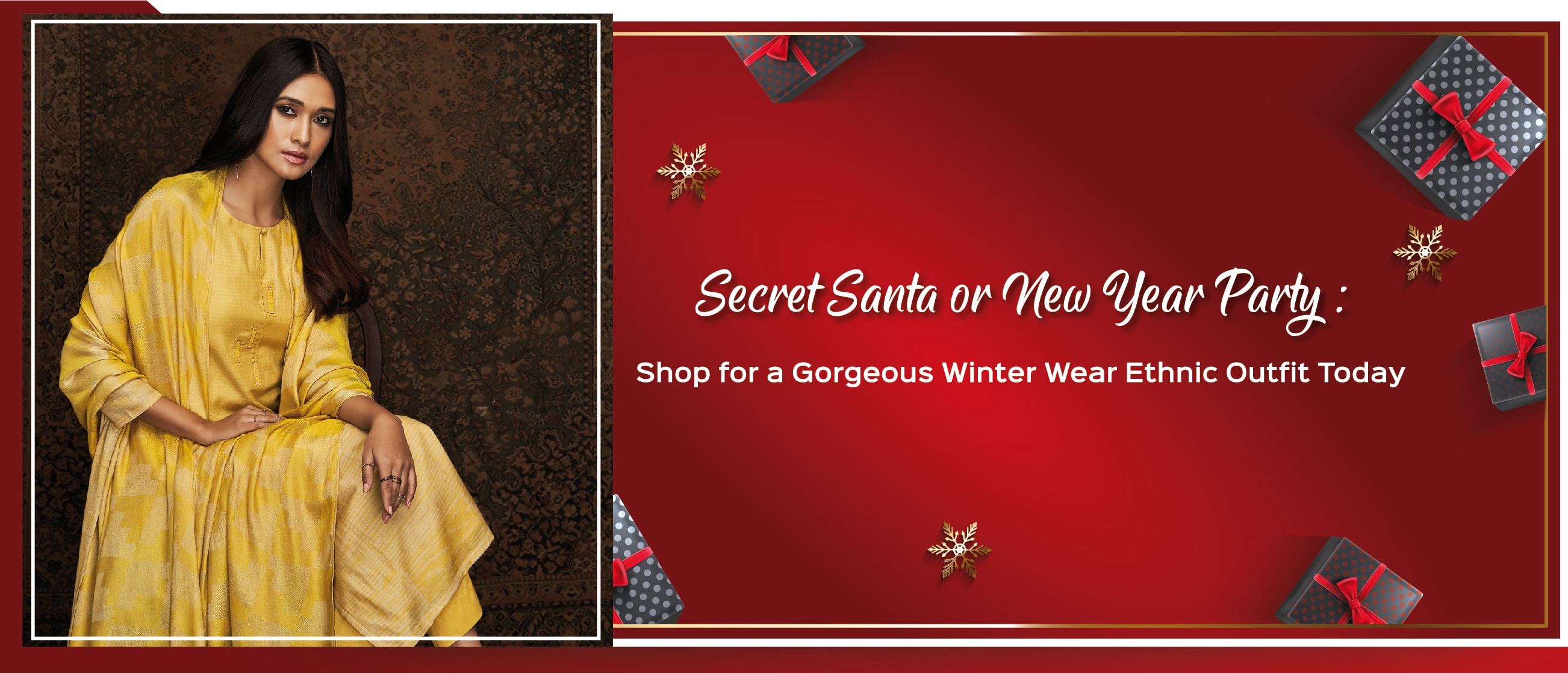Secret Santa or New Year Party: Shop for a Gorgeous Winter Wear Ethnic Outfit Today