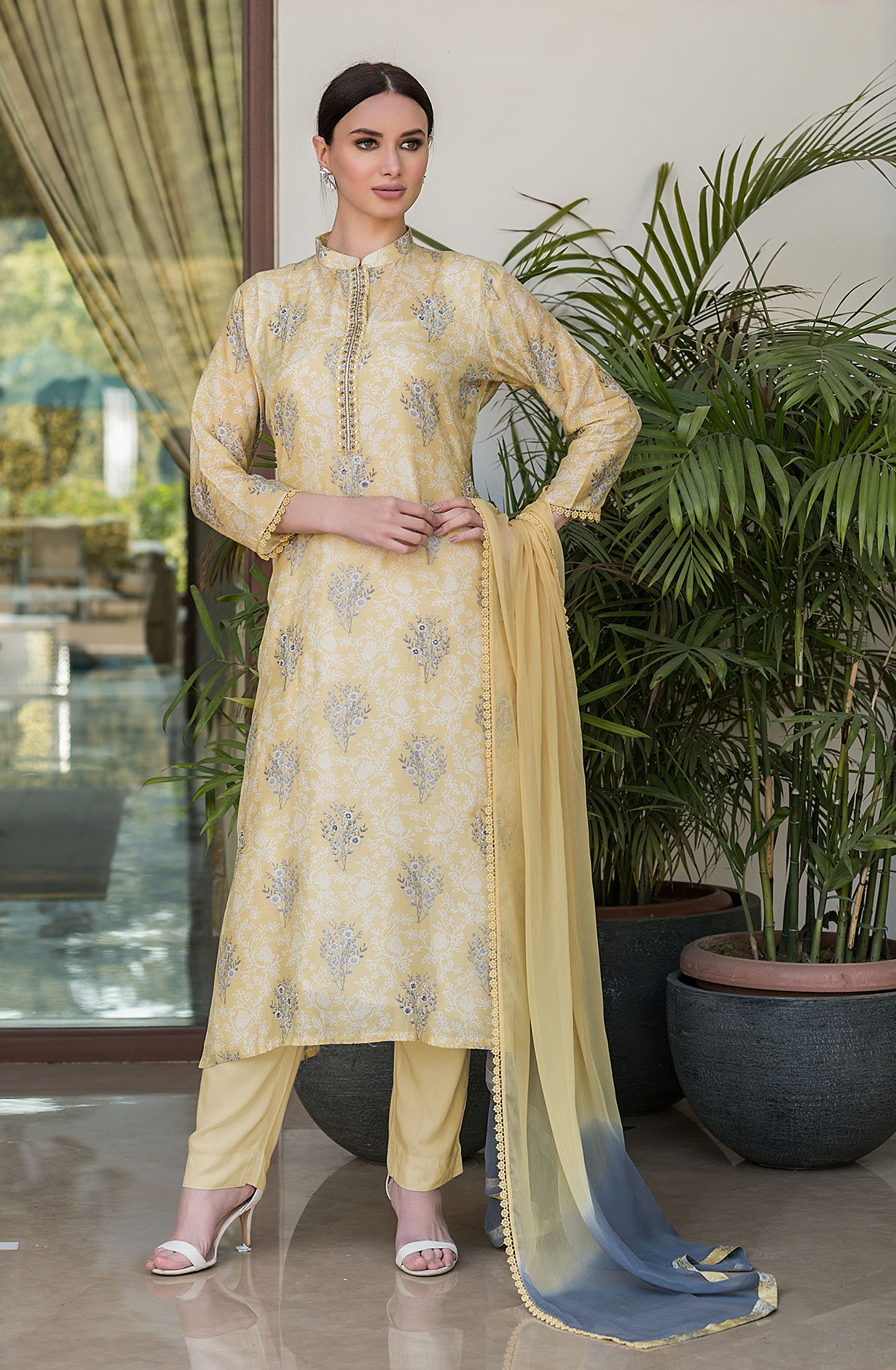 Modal Cotton Semi-stitched Suit Sets in Yellow with Chiffon Dupatta - 245-8301