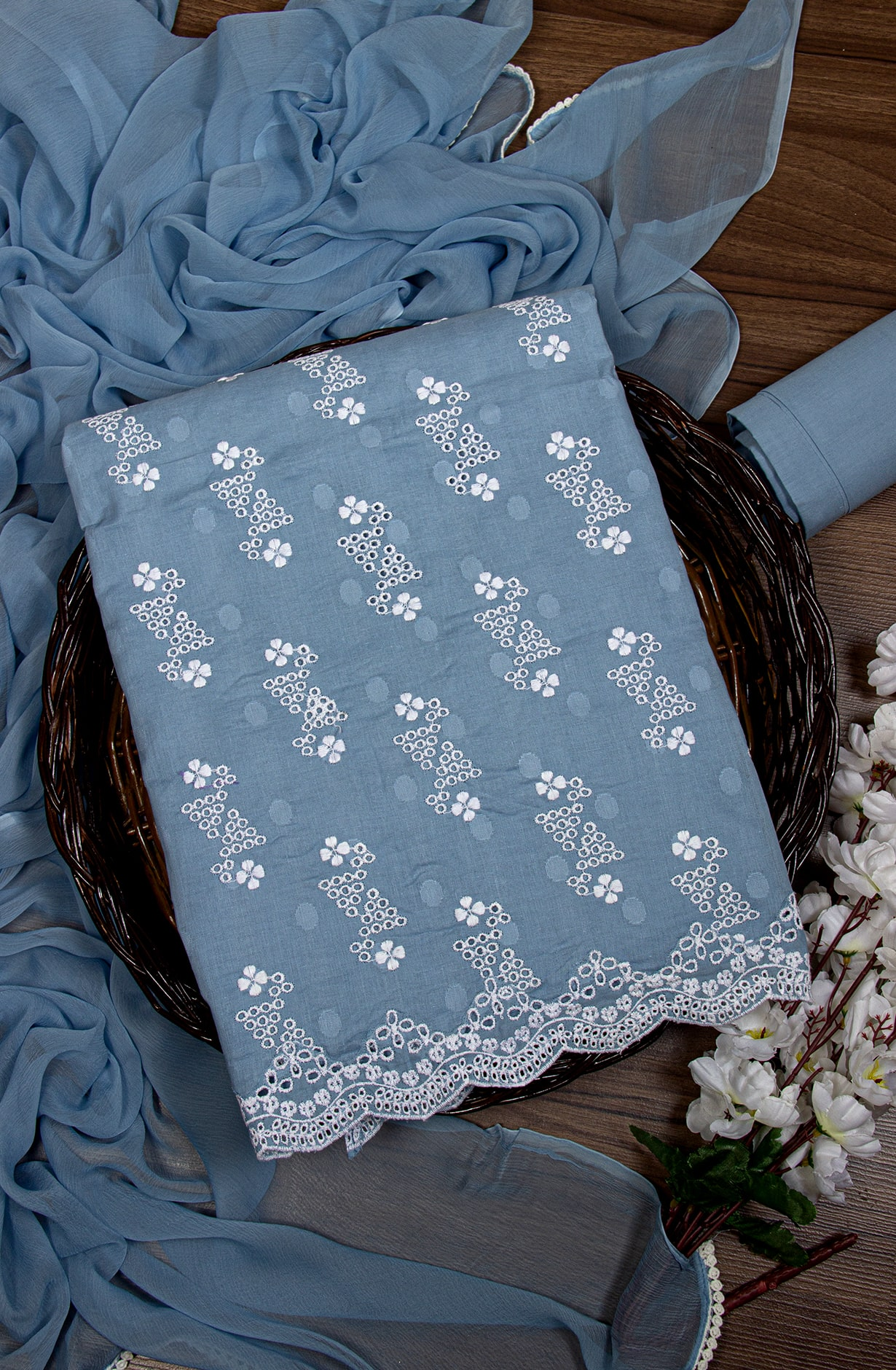 Cotton Jacquard Beautiful Embroidered Suit in Pastel Blue with Chiffon Dupatta - 245-NS12747A