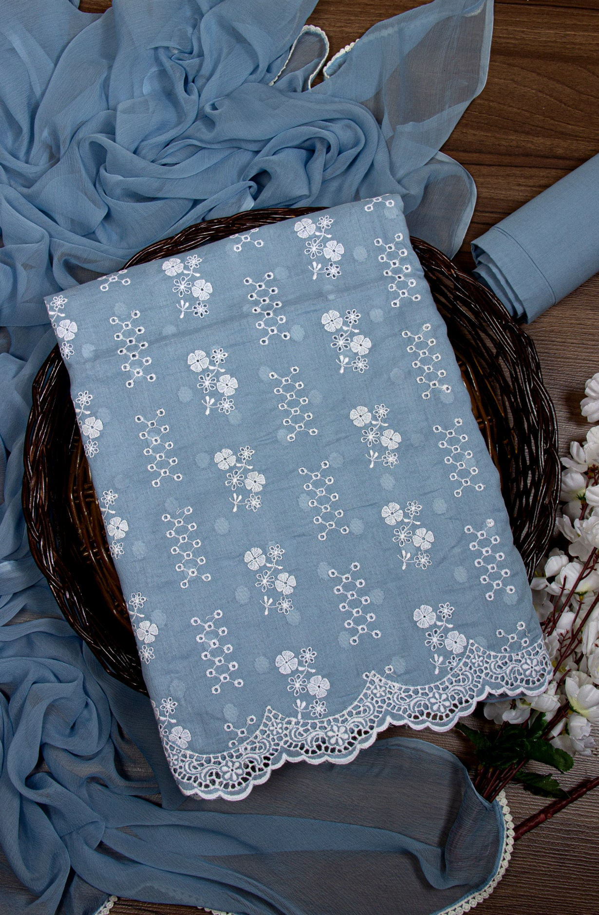 Cotton Jacquard Beautiful Embroidered Suit in Pastel Blue with Chiffon Dupatta - 245-NS12747B