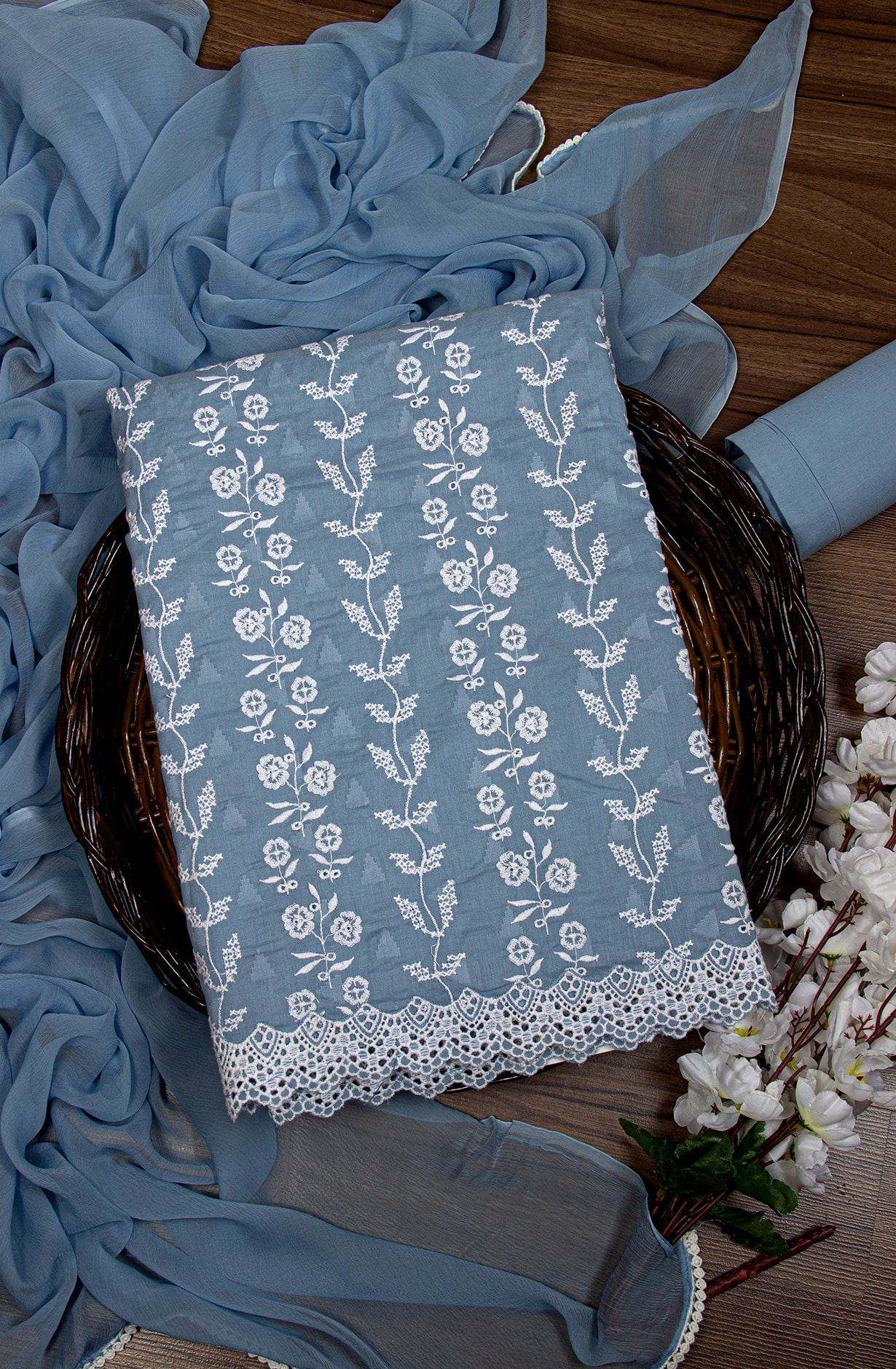 Cotton Jacquard Beautiful Embroidered Suit in Pastel Blue with Chiffon Dupatta - 245-NS12747D