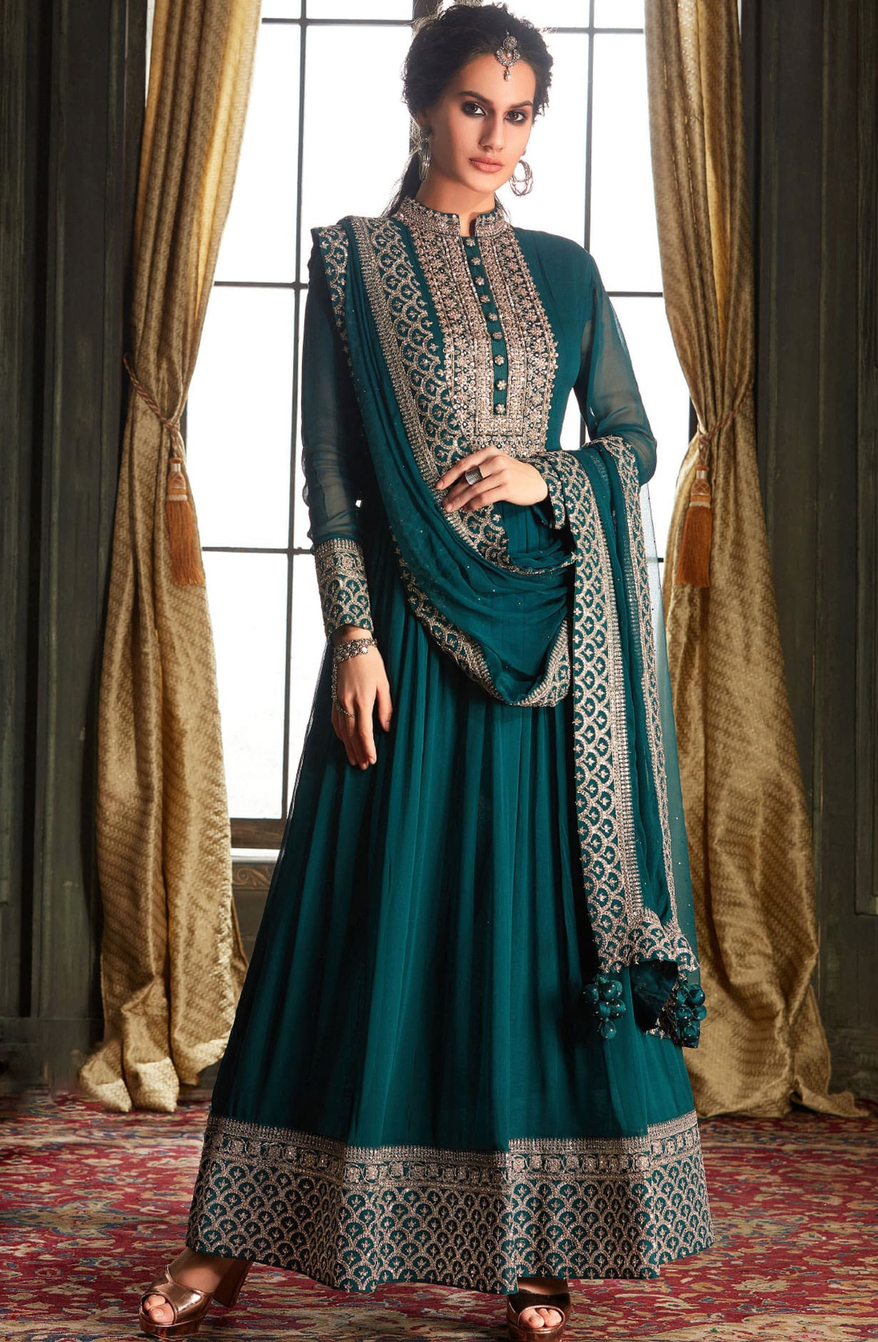 Designer Wedding Collection Readymade Georgette Gown In Bottle Green - 662-VF9201E
