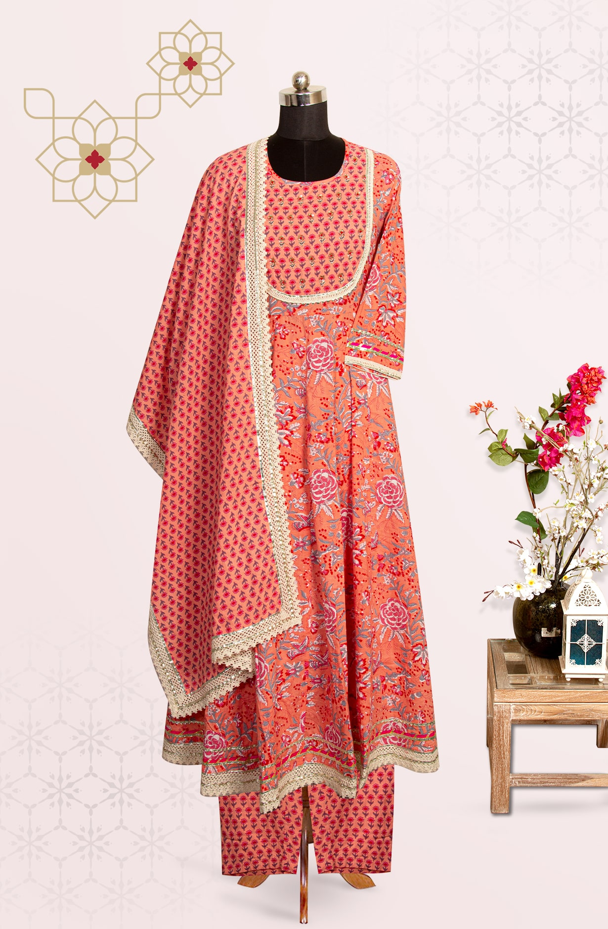 Peach Cotton Printed Readymade Suit Set with Pants - 691-F4101