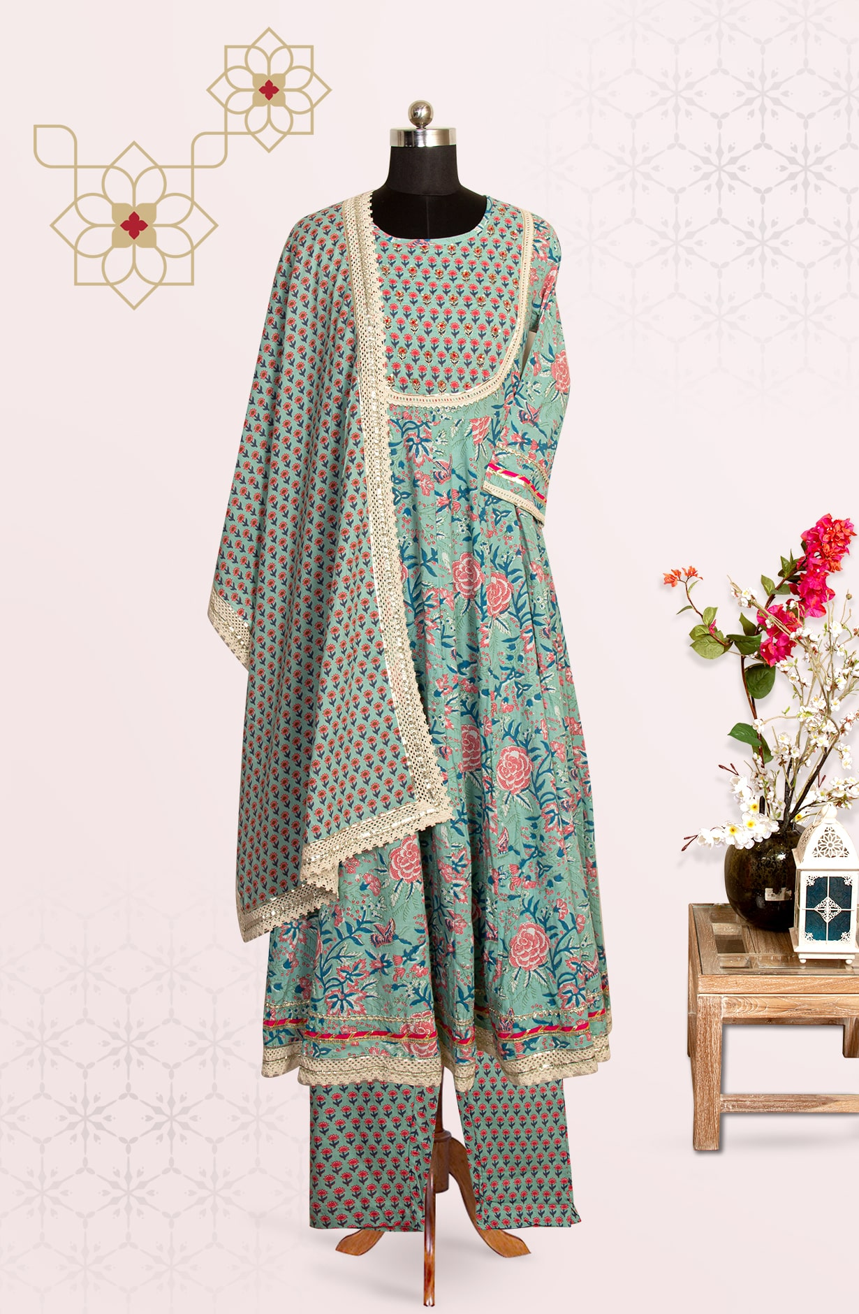 Sea Green Cotton Printed Readymade Suit Set with Pants - 691-F4101A