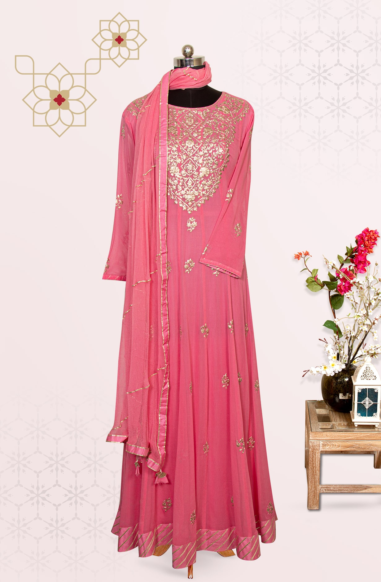 Pink Party Wear Exclusive Long Suit Set with Chiffon Dupatta - 691-F6952A