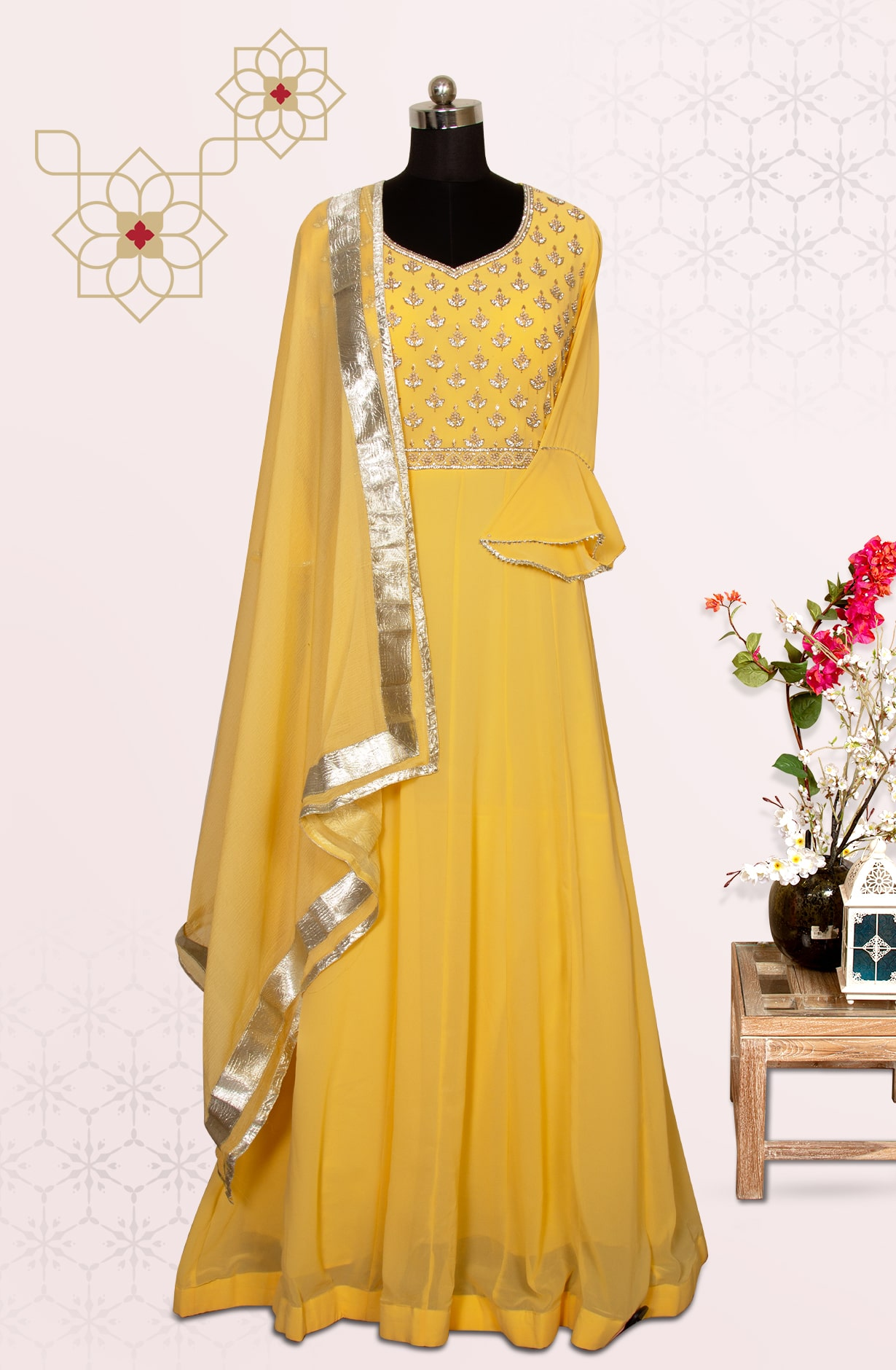 Yellow Designer Readymade Georgette Gown - 691-F7037