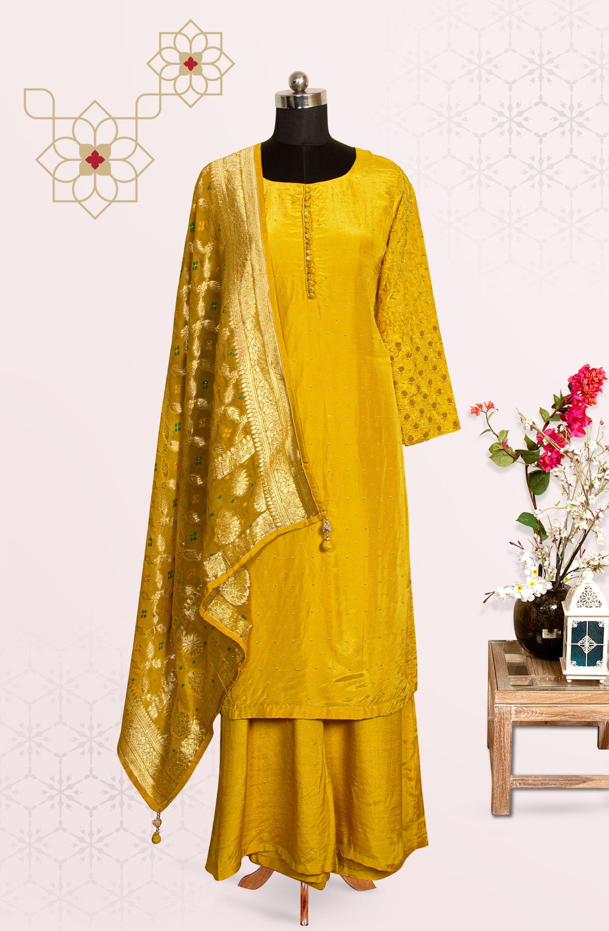 Karva Chauth Special Mustard Silk Readymade Palazzo Suit with Beautiful Dupatta - 767-EH346ST