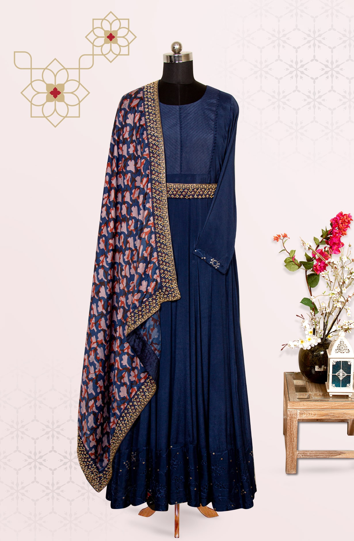 Navy Blue Chinon Party Wear Exclusive Suit Set with Silk Dupatta - 767-K1312ASTB