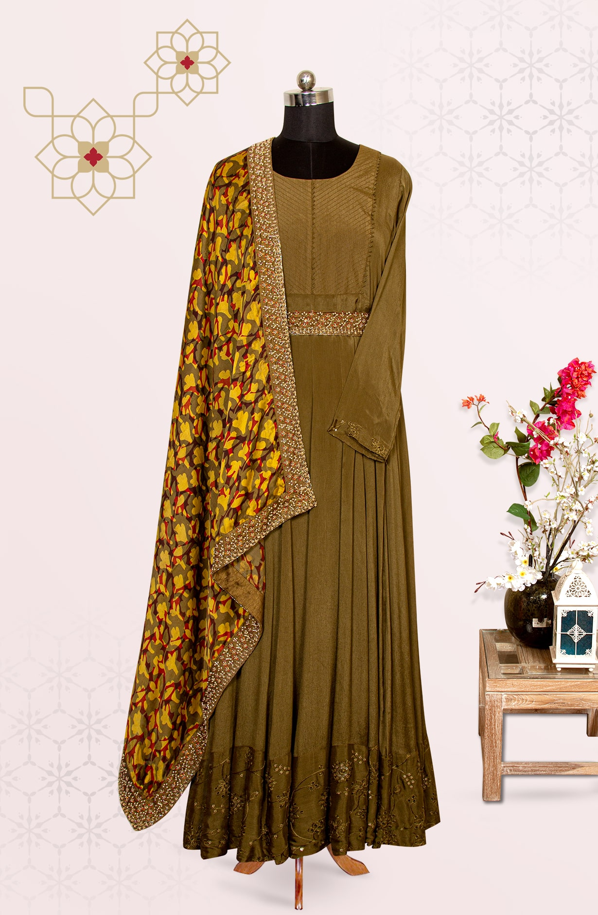 Mehndi Chinon Party Wear Exclusive Suit Set with Silk Dupatta - 767-K1312ASTC