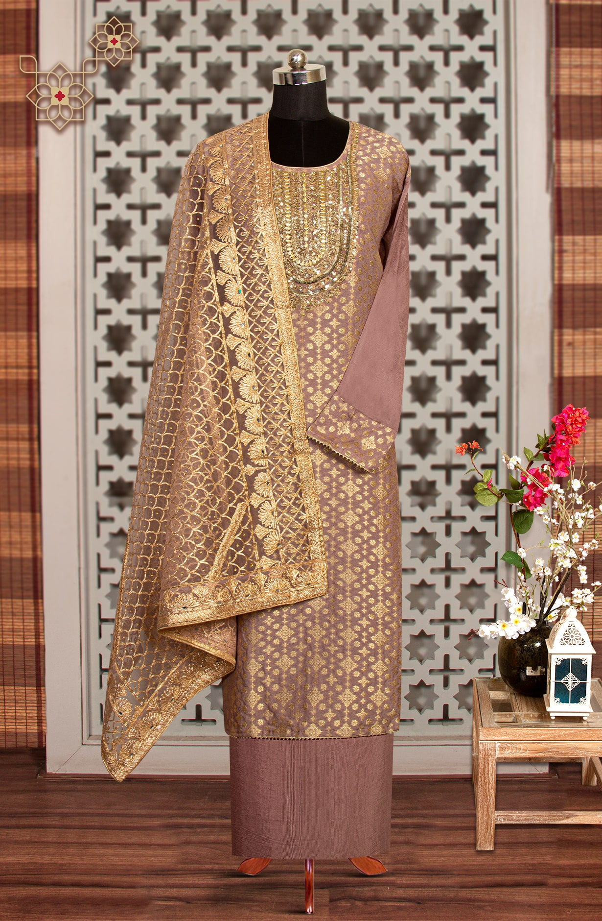 Mauve Chinon Silk Partywear Semi-stitched Suit with Net Dupatta - 908-818A