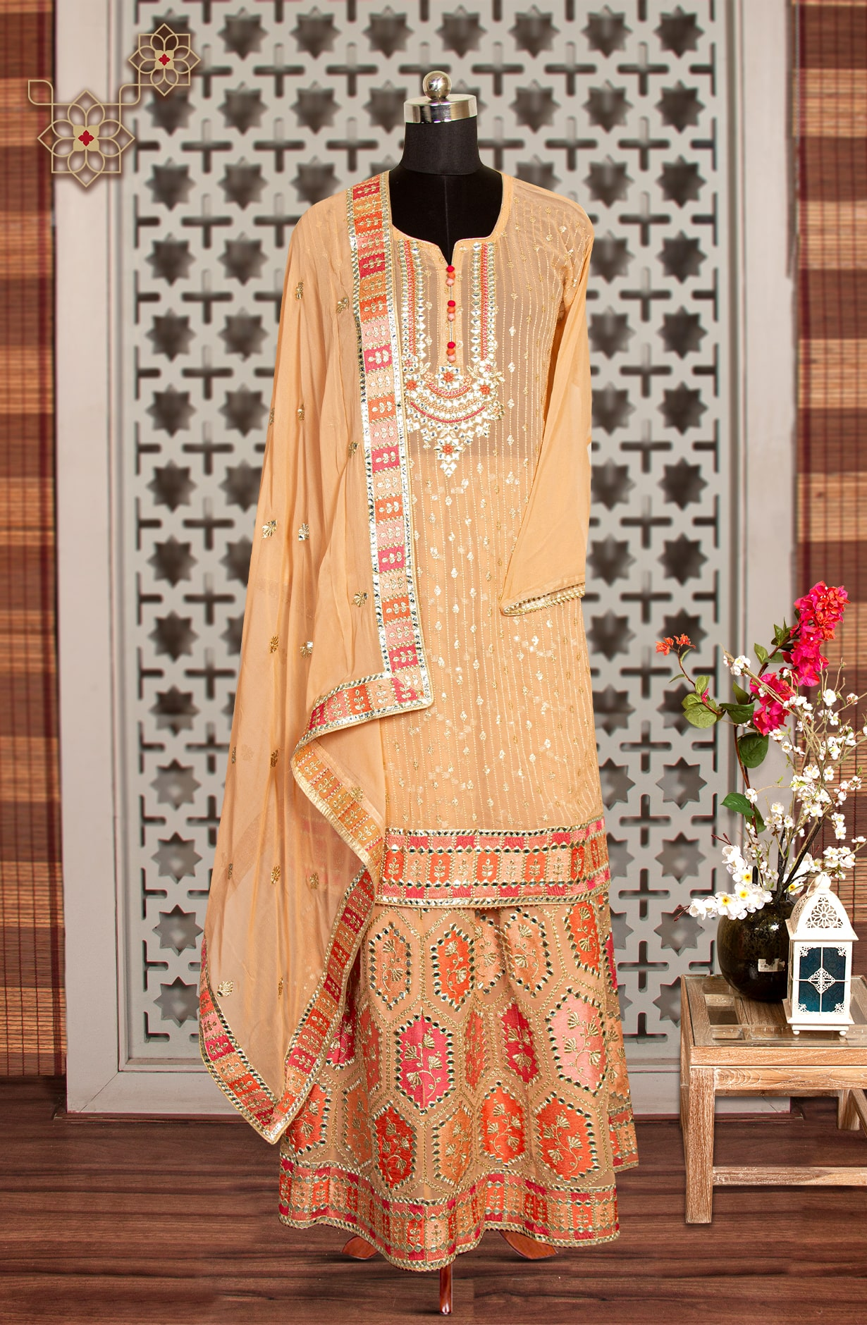 Peach Georgette Partywear Exclusive Suit Set with Skirt - 908-831A