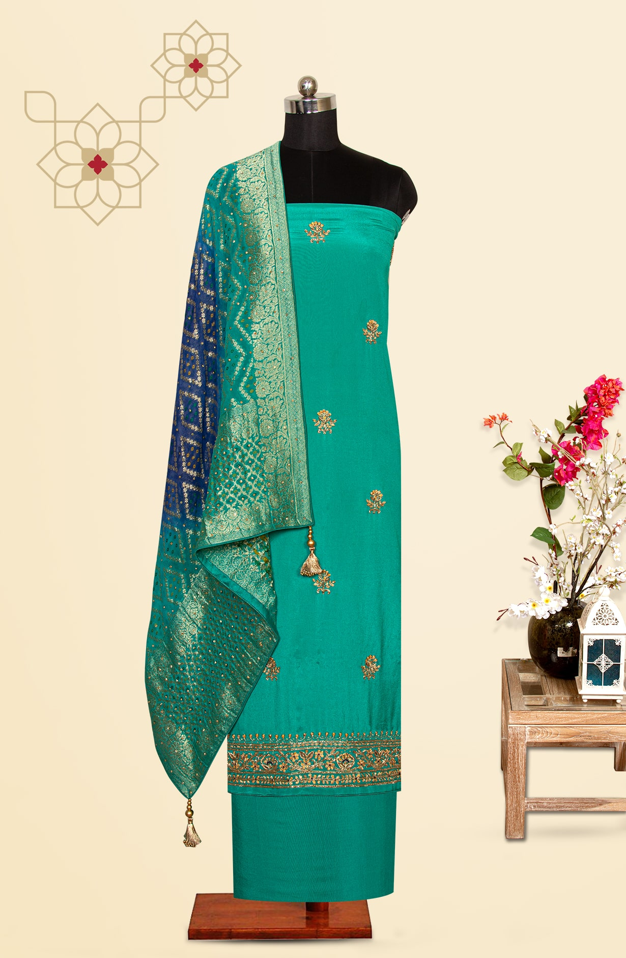 Turquoise Chinon Designer Partywear Unstitched Suit - 969-3127A