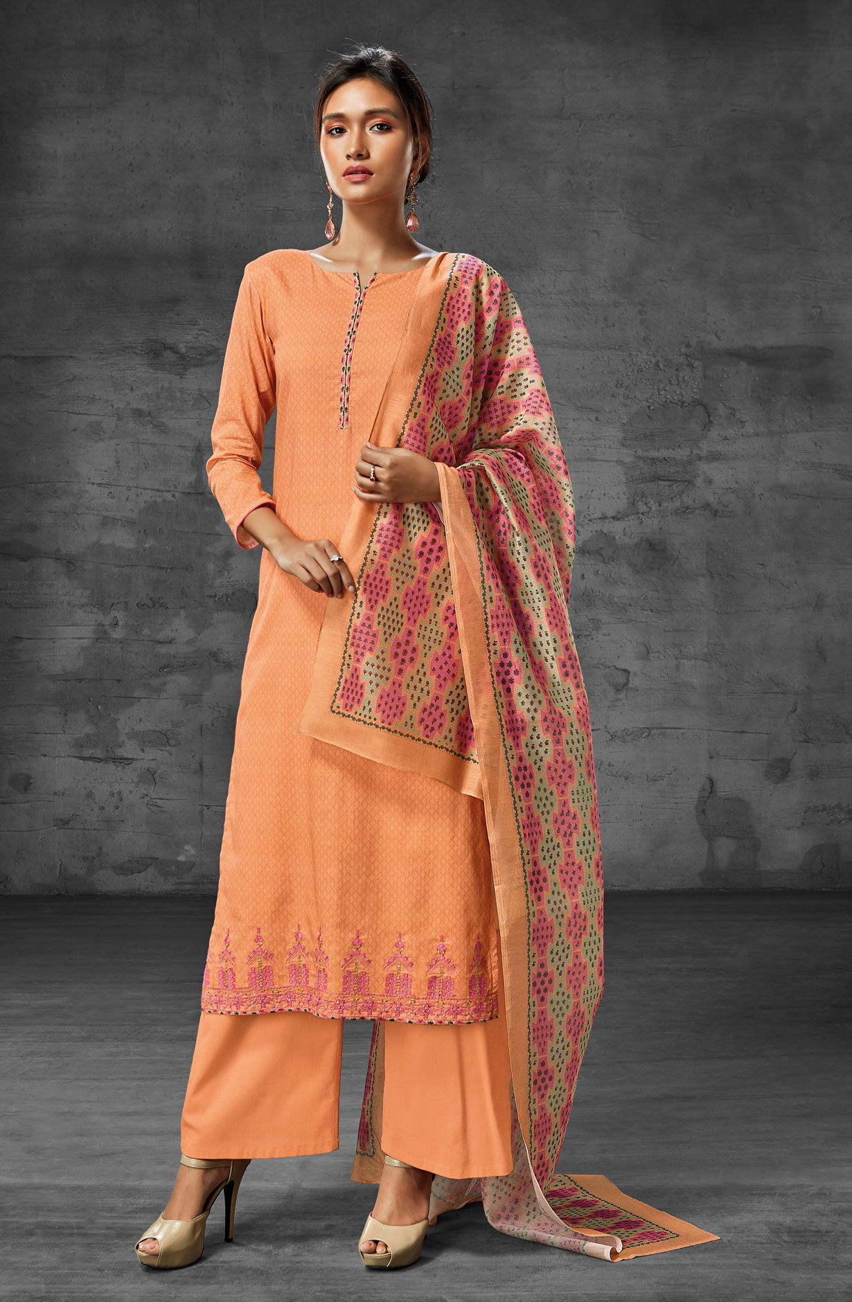 e86ac24901 Latest Summer Collection Digital Print Cotton Suit Sets In Orange   AEO6210
