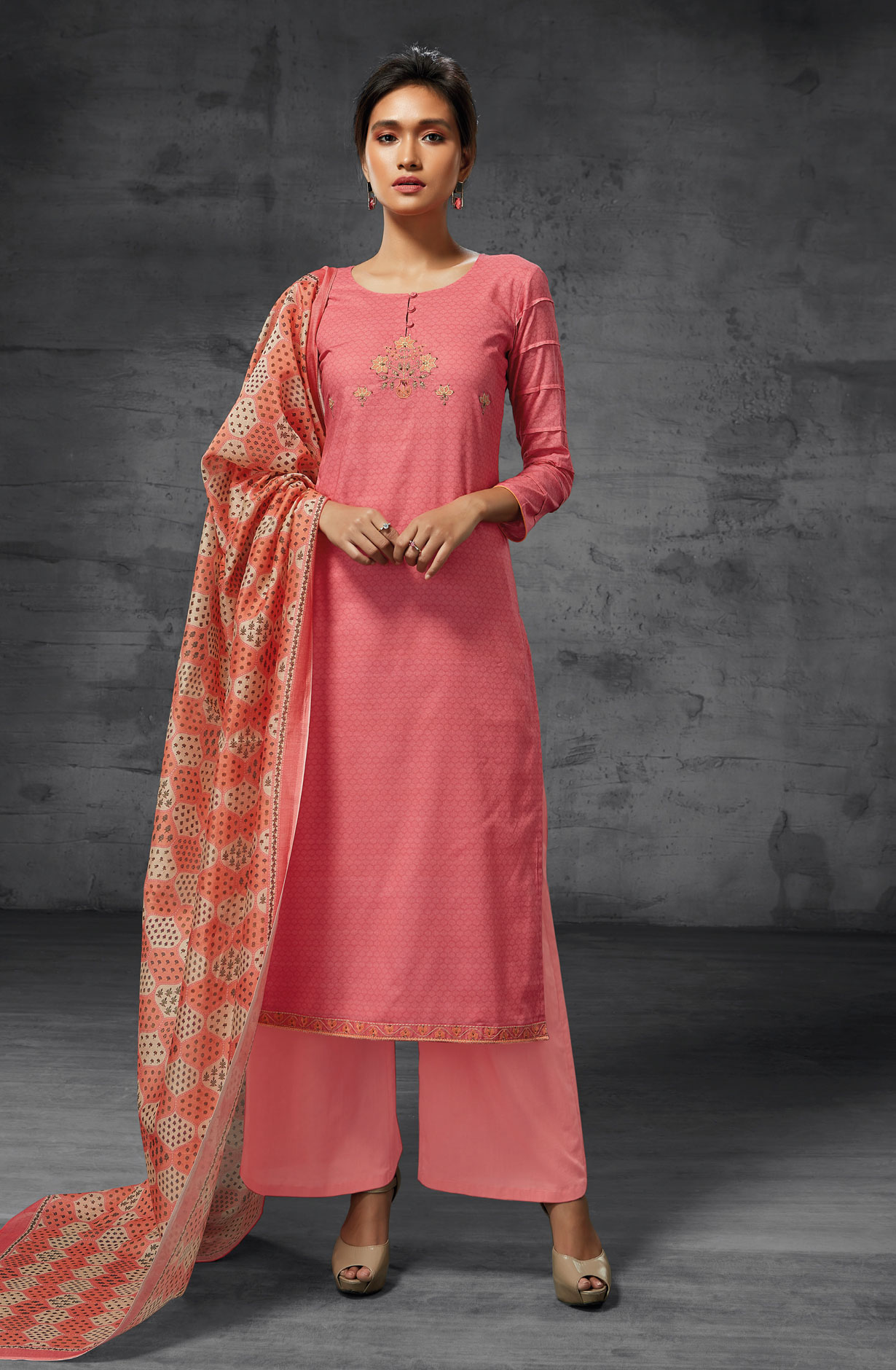 bcfe7475e7 Latest Summer Collection Digital Print Cotton Suit Sets In Pink   AEO6212