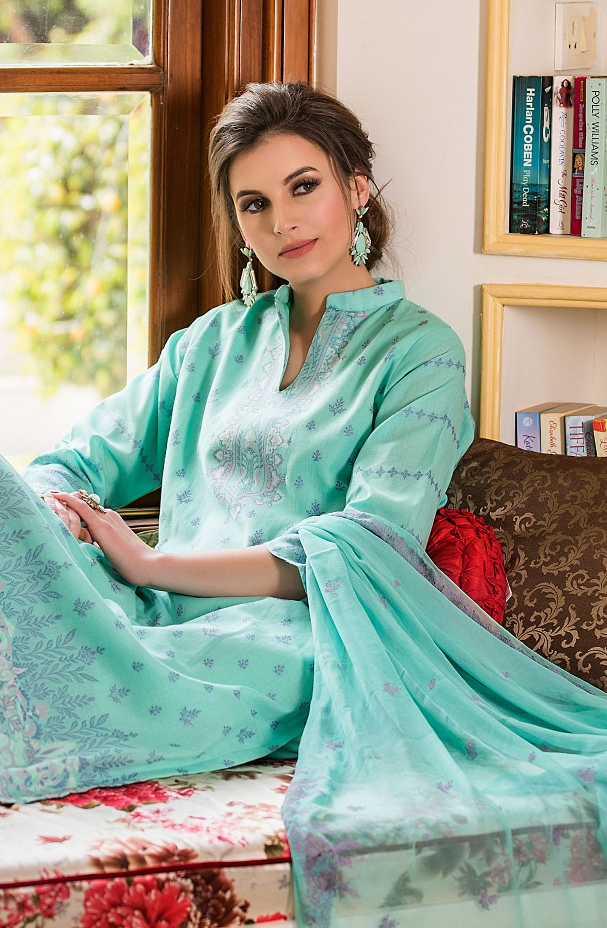 007b9b0d1a7 Cotton Beautiful Thread Work Unstitched Shalwar Kameez In Turquoise -  AFA2612