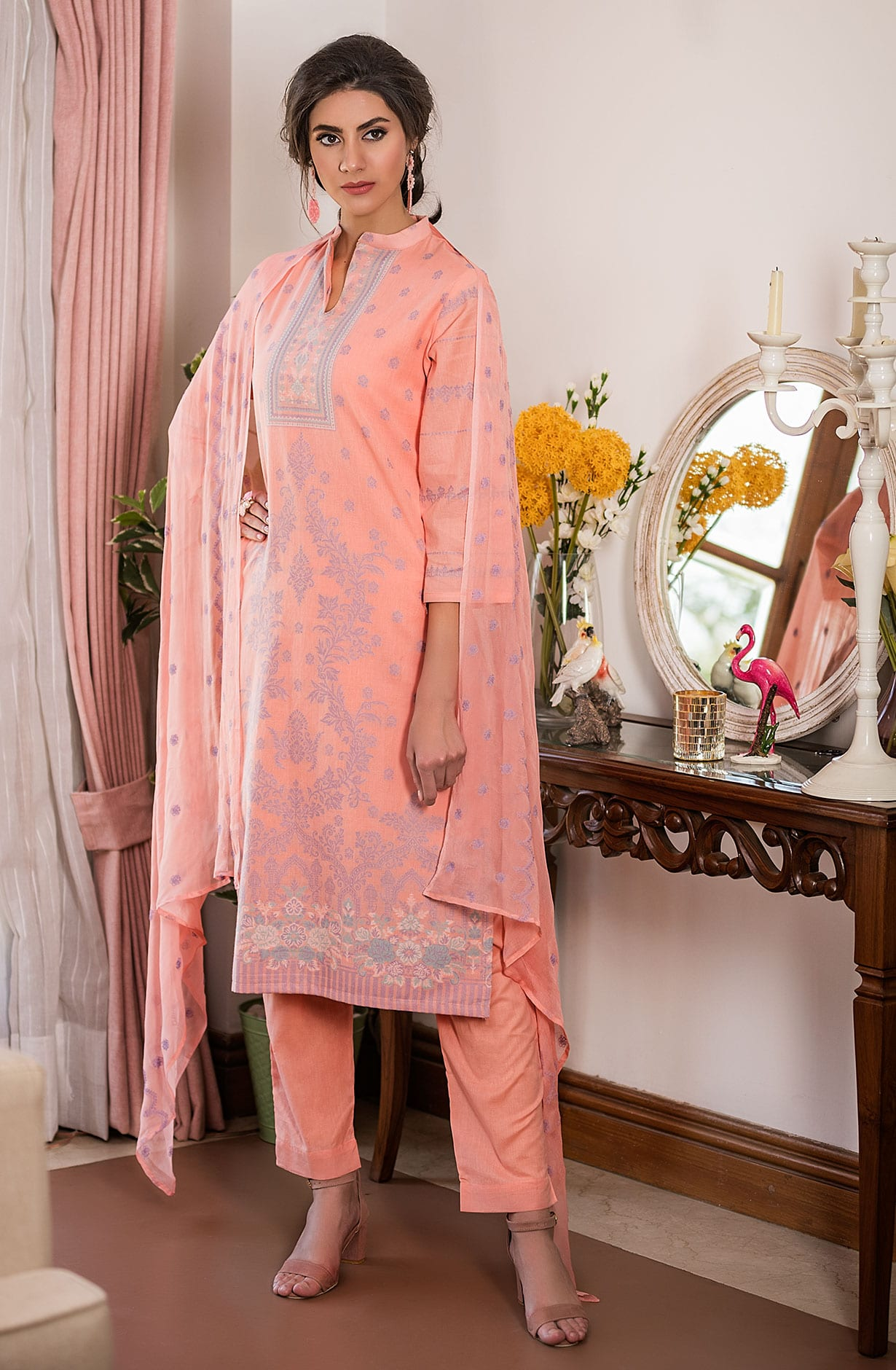 0ddcd7e59d0 Cotton Beautiful Thread Work Unstitched Shalwar Kameez In Peach ...