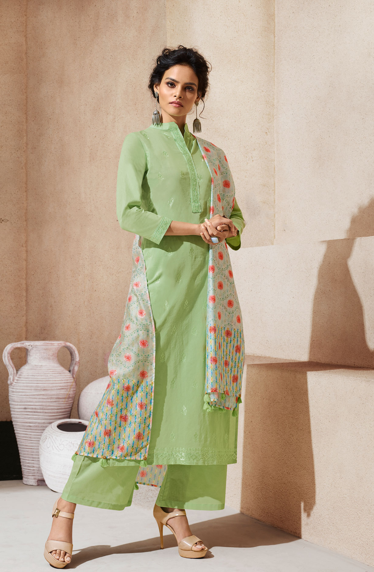 56e4b9a252b Shop Embroidered Cotton Ready to Stitch Light Green Salwar Kameez Sets