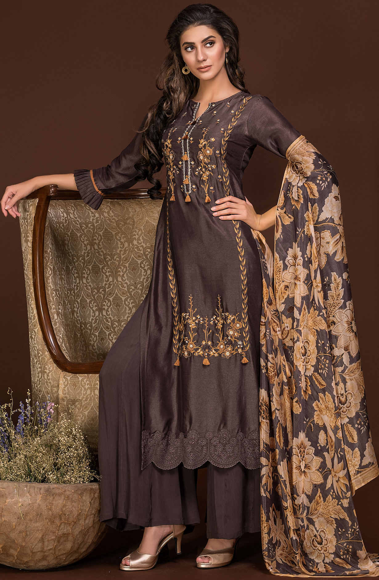34195eb5e9 Exclusive Designer Satin Silk and Crepe Coffee Brown Salwar Suit Sets with  Embroidery & Zari Work | AMO2431
