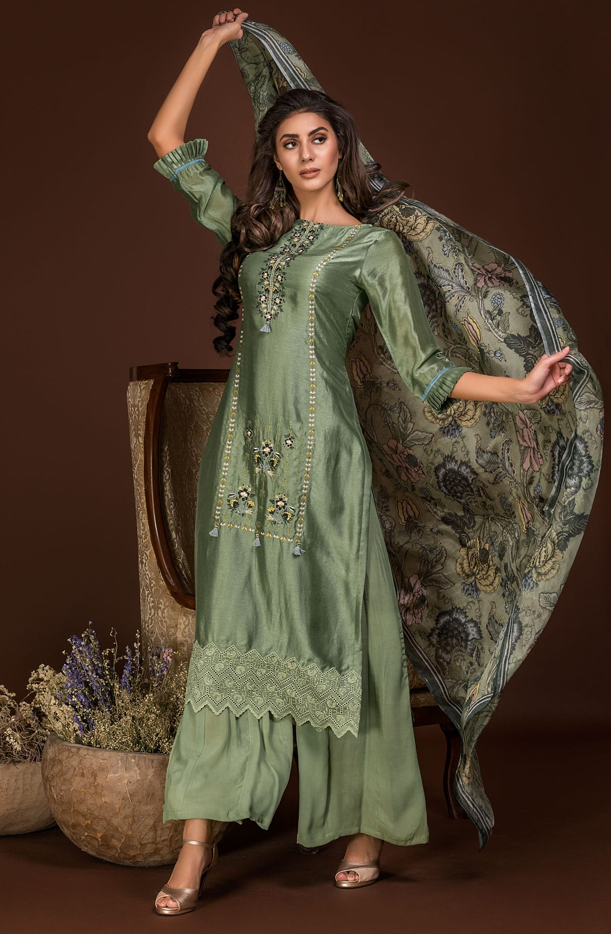 d5ea04e105 Exclusive Designer Satin Silk and Crepe Green Salwar Suit Sets with  Embroidery & Zari Work | AMO2432