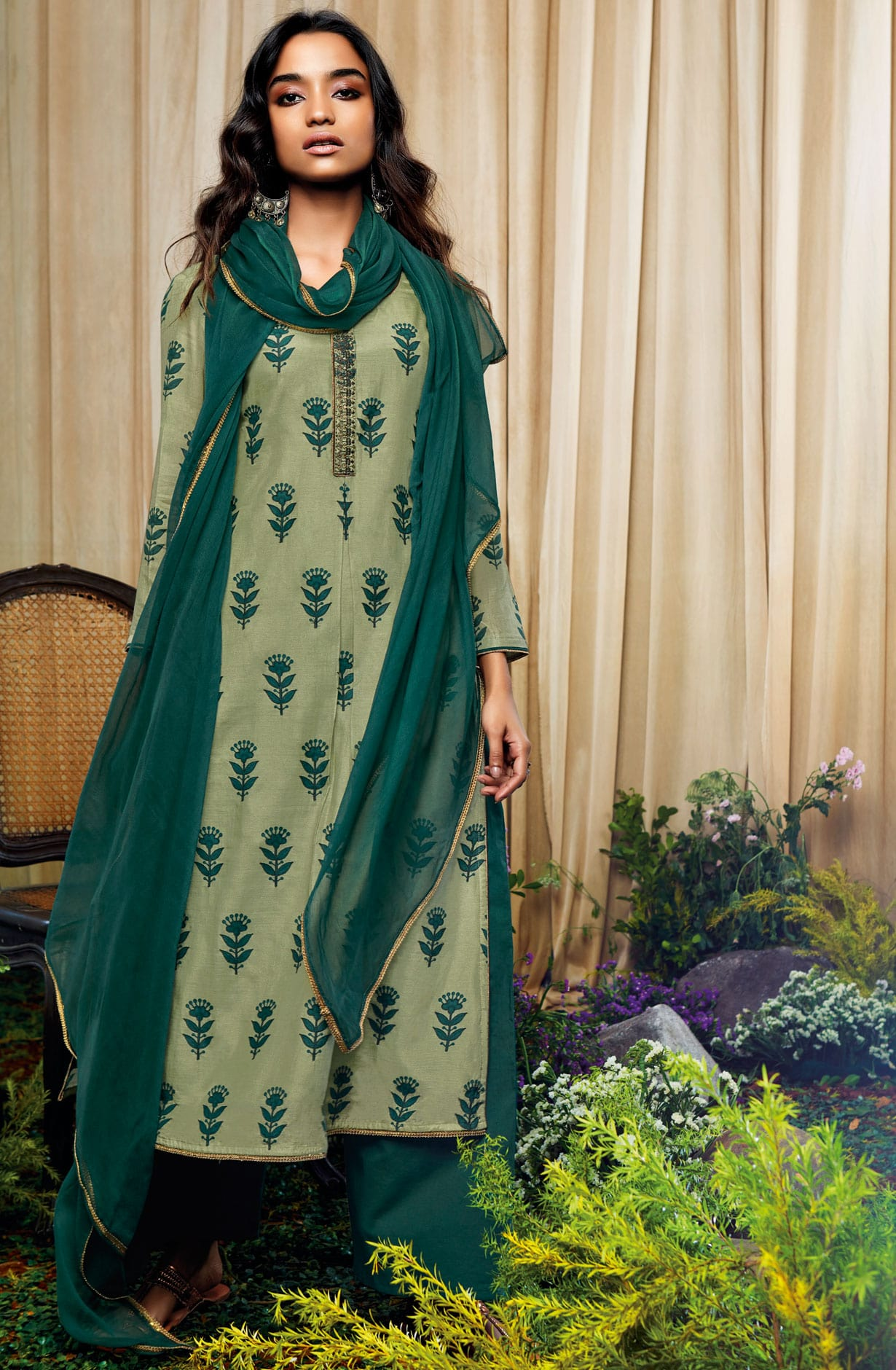 7007a49a7cf Beautiful Print with Embellished Work Cotton Silk Salwar Suit with Chiffon  Dupatta In Leaf and Bottle Green