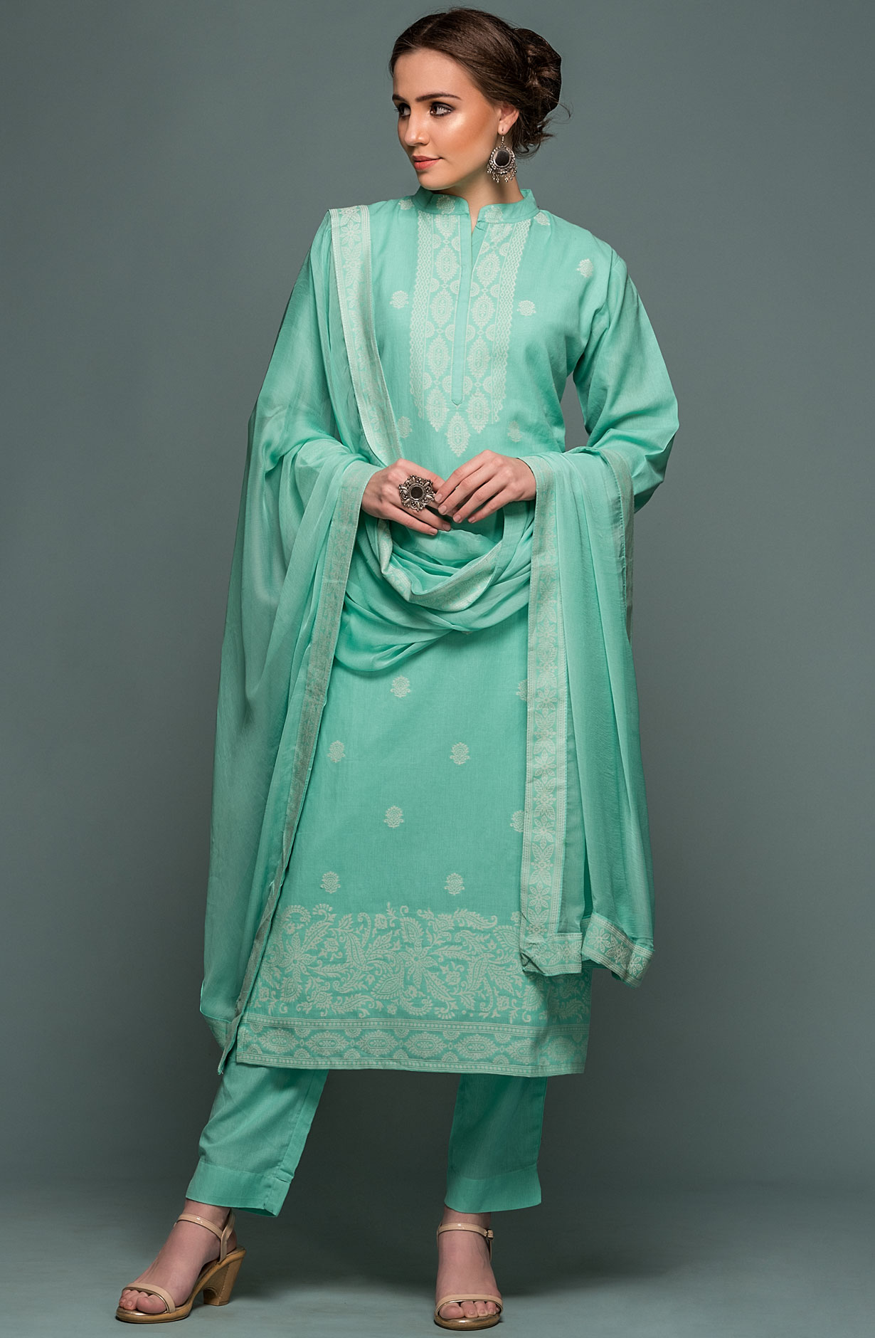 4cf3ead402a Cotton Jacquard Ready-to-Stitch Salwar Kameez In Sea Green