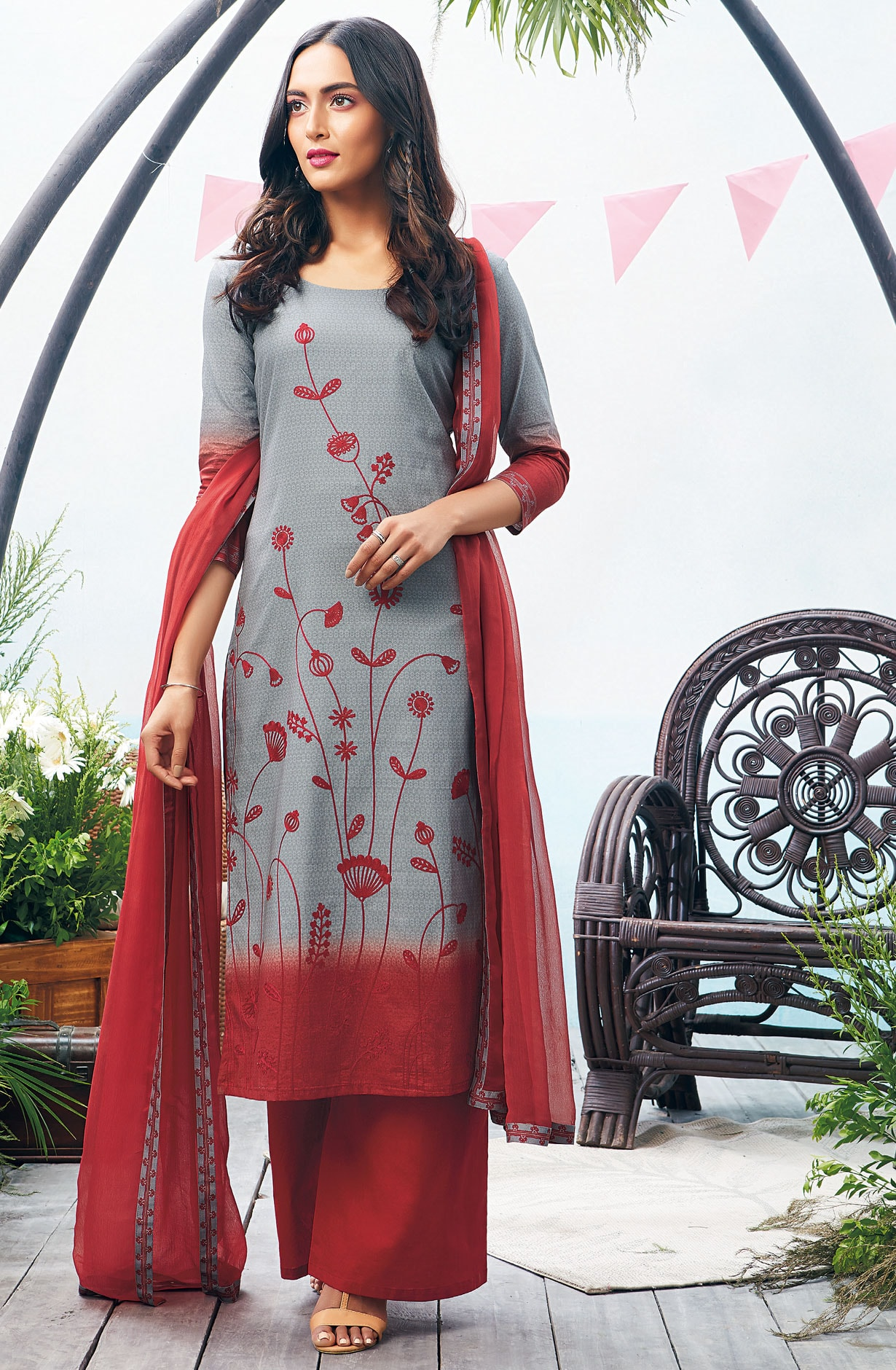 Printed with Embroidery Cotton Salwar Suit In Grey and Maroon - AUT6326-R