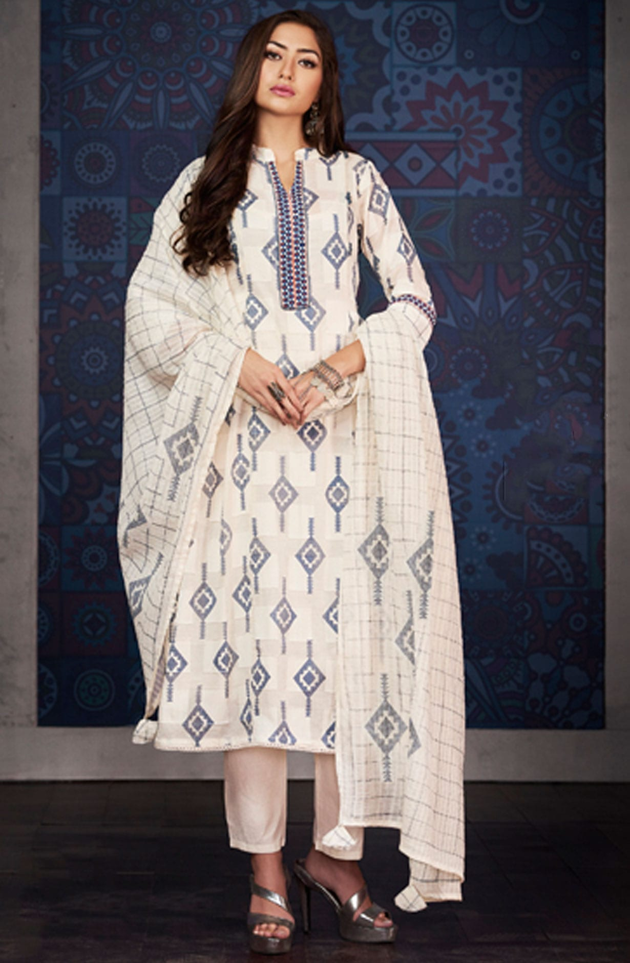 1fa0856c4c Digital Floral Printed with Machine Embroidery Cotton Jacquard Salwar Suit  in Cream | BLA4202
