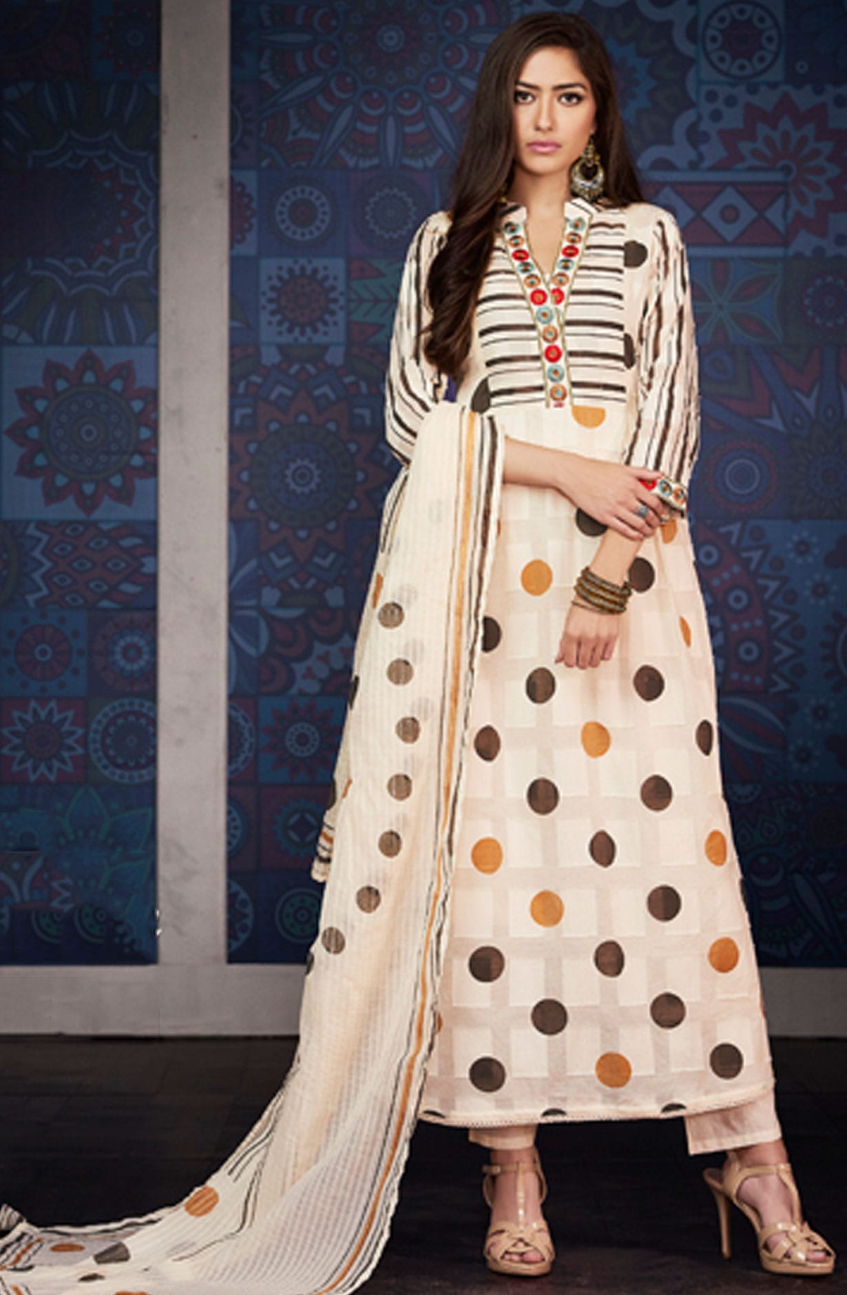 924b1ef407 Digital Floral Print with Machine Embroidery Cotton Jacquard Salwar Kameez  in Cream | BLA4203