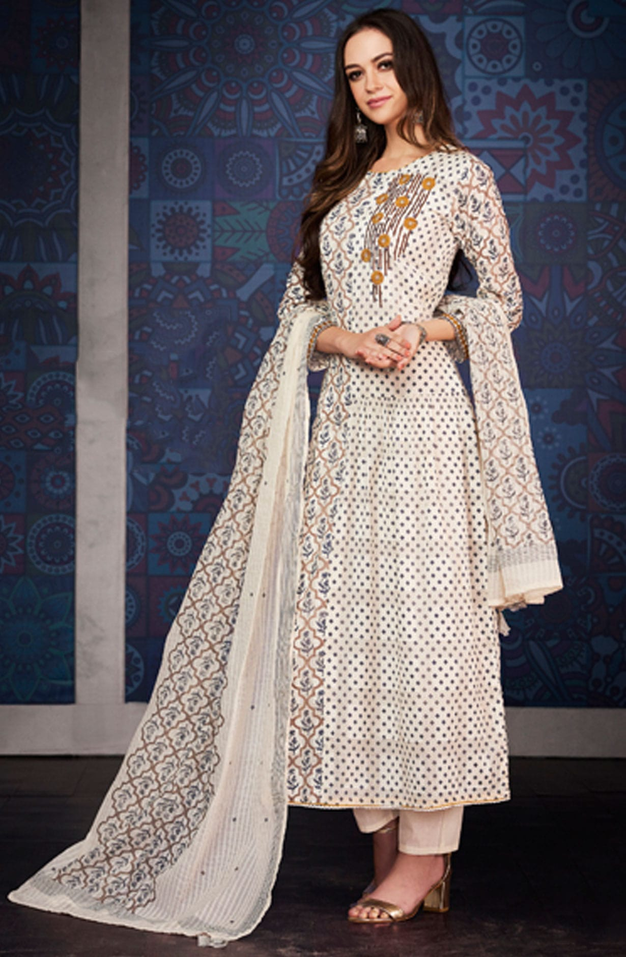 5a54fe47d9 Digital Floral Print with Machine Embroidered Cotton Jacquard Salwar Suit  in Cream | BLA4205