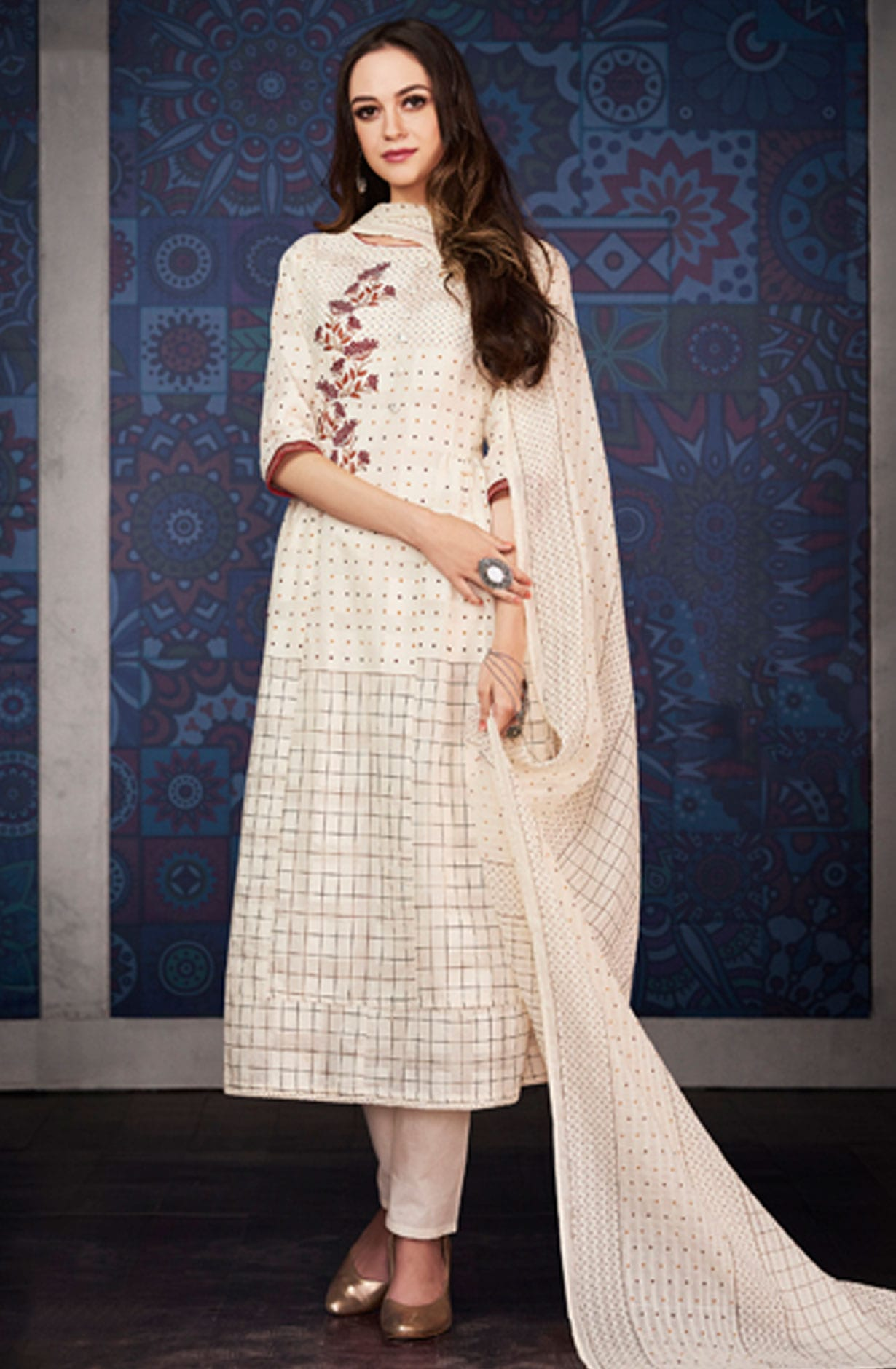 7f723d0b70 Digital Floral Print with Machine Embroidery Cream Cotton Jacquard Salwar  Suit - BLA4207