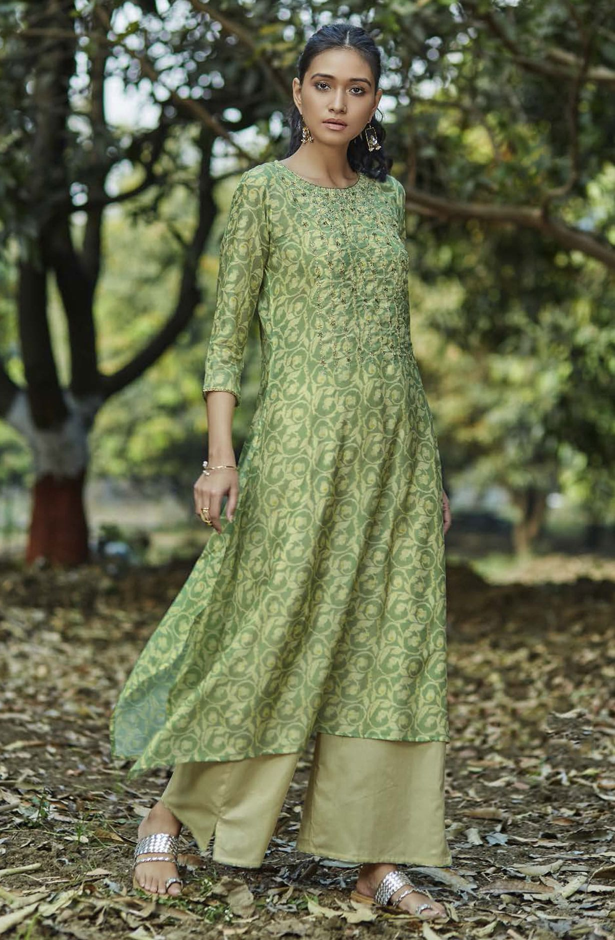 Trendy Rayon Digital Printed with Embellished Womens Kurti with Palazzo In Green - GNRD5922
