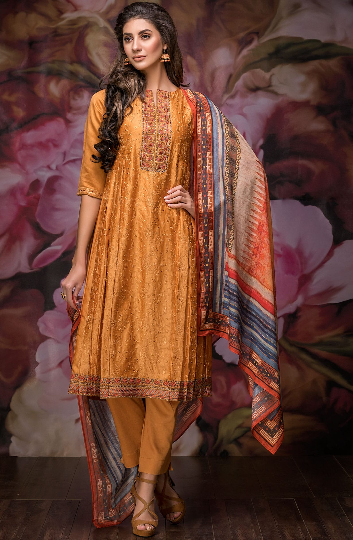 407d3a9f2d Chanderi Cotton Embroidery with Swarovski Work Exclusive Salwar Suit In  Mustard | GUL2532