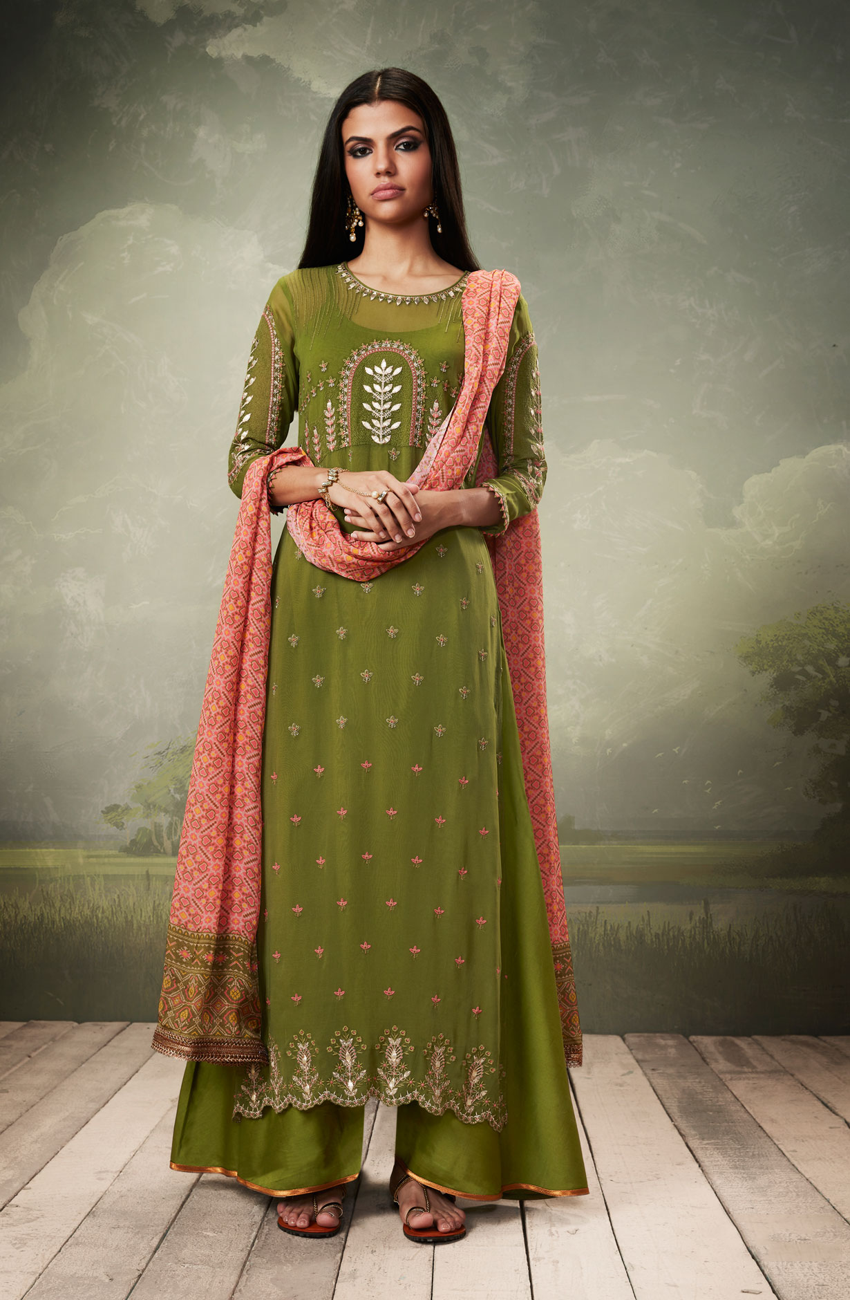 Georgette and Satin Zari Embroidery Salwar Suit Sets in
