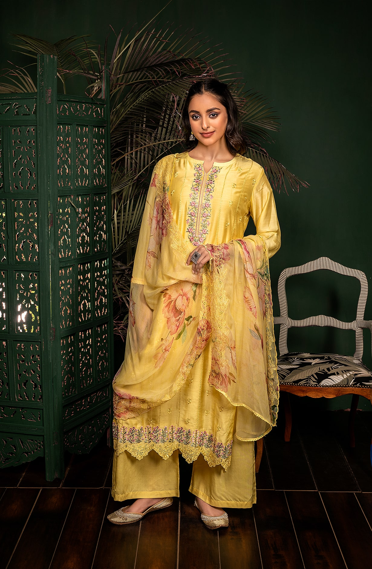 Lime Muslin Silk Exclusive Embroidered Suit Set with Chiffon Dupatta - KAN9102