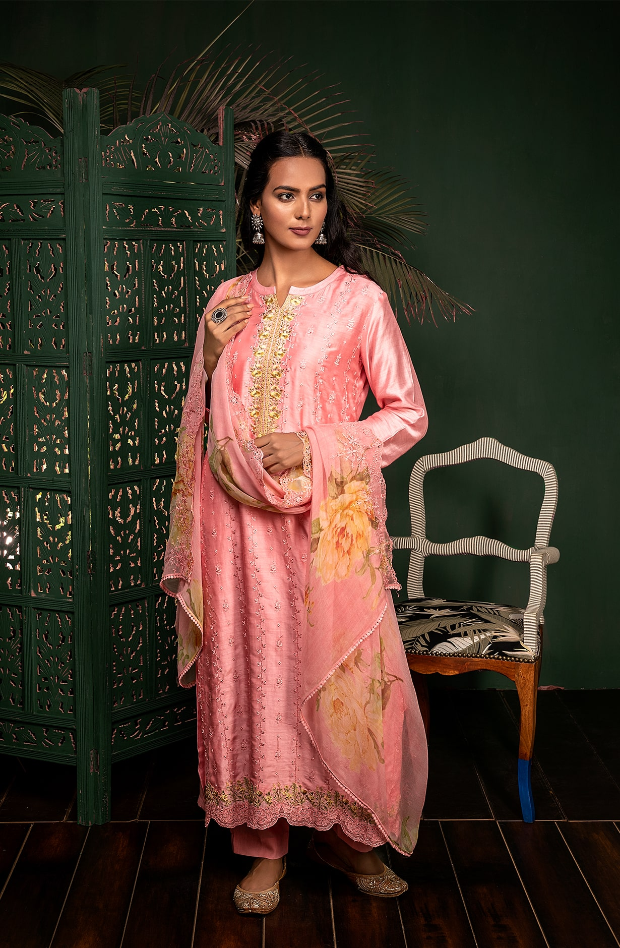 Pink Muslin Silk Exclusive Embroidered Suit Set with Chiffon Dupatta - KAN9105