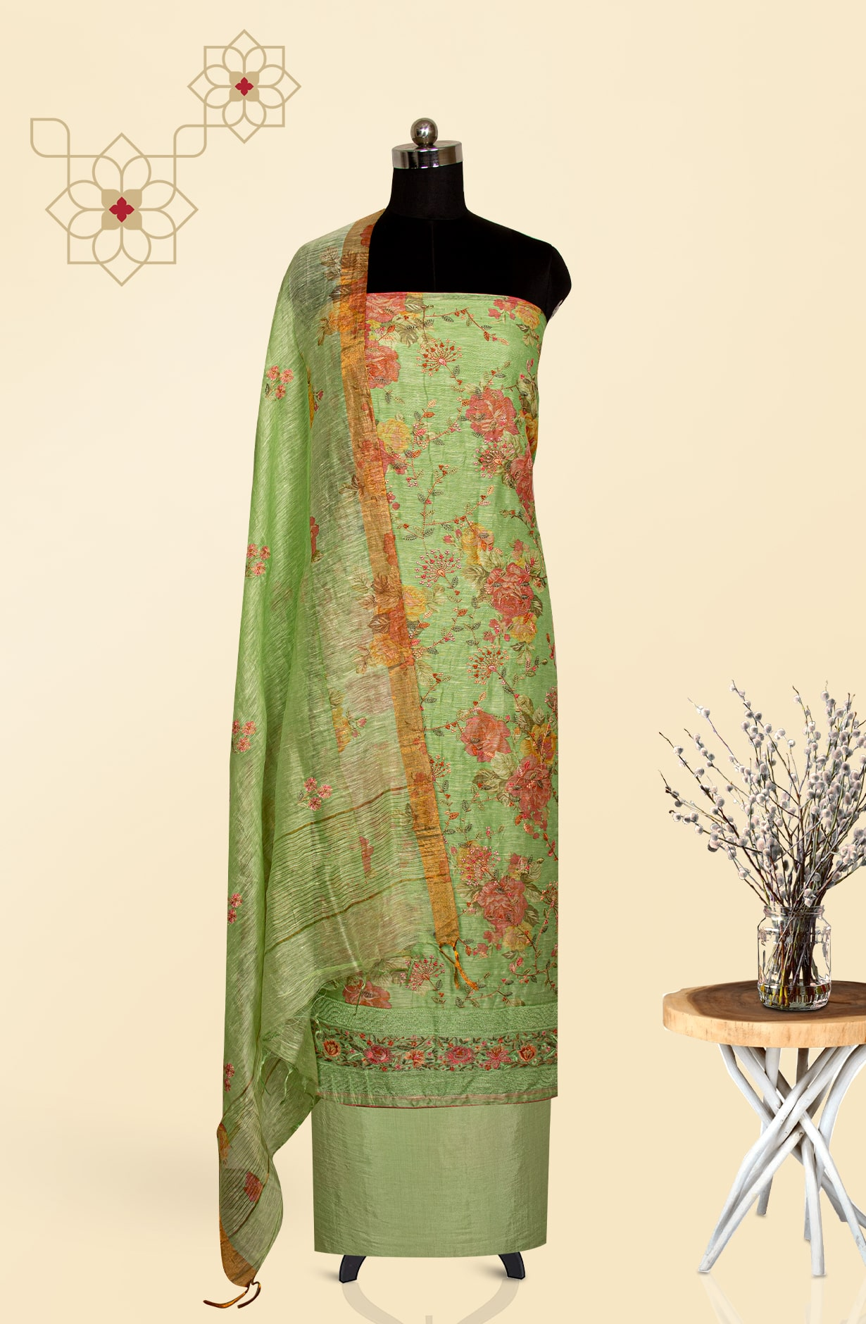 Green Chanderi Digital Printed with Embroidered Suit Set - LV-US4242L