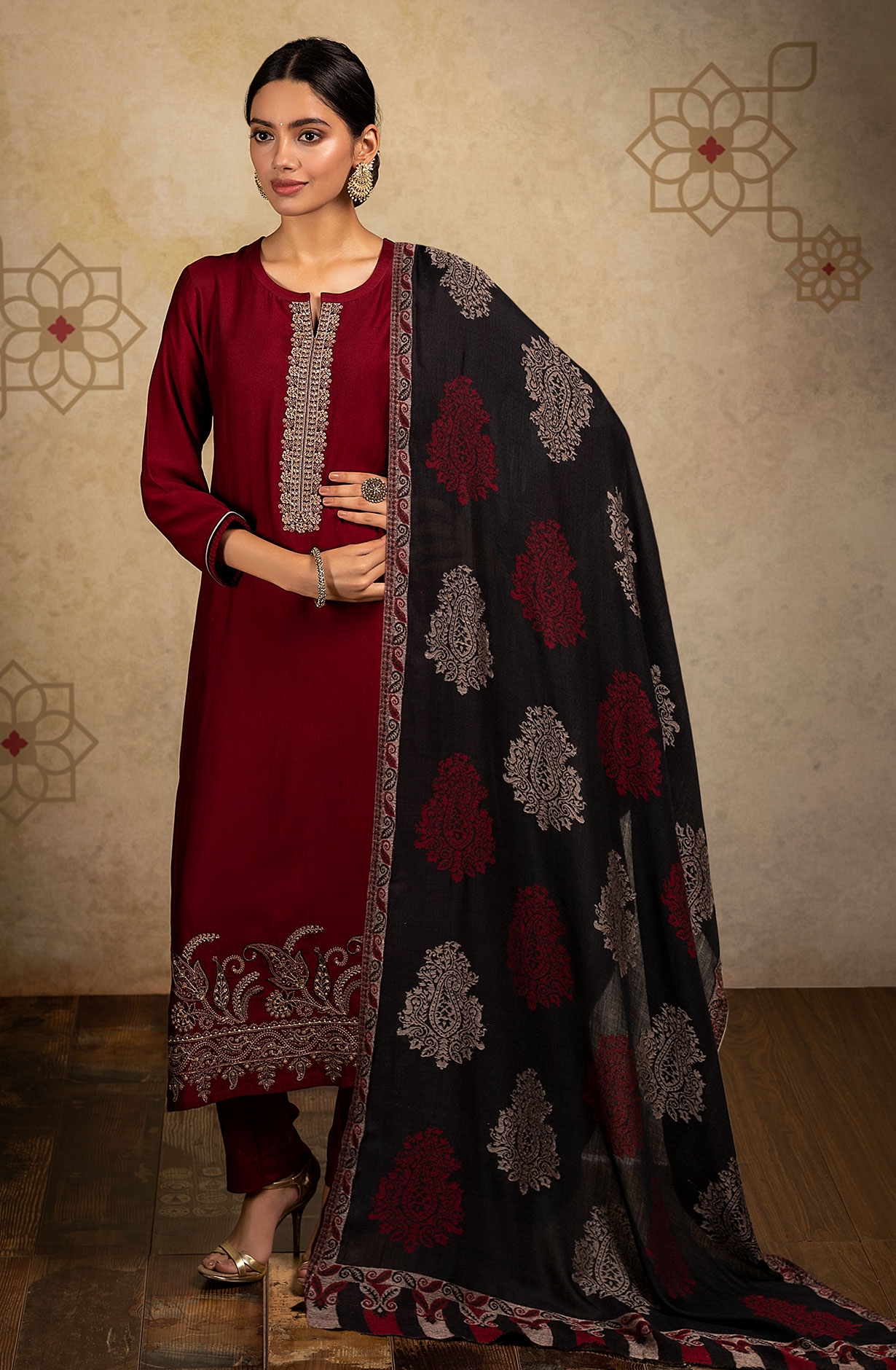 Exclusive Pure Pashmina Beautiful Paisley Embroidery Salwar Suit In Maroon - MIRA8004