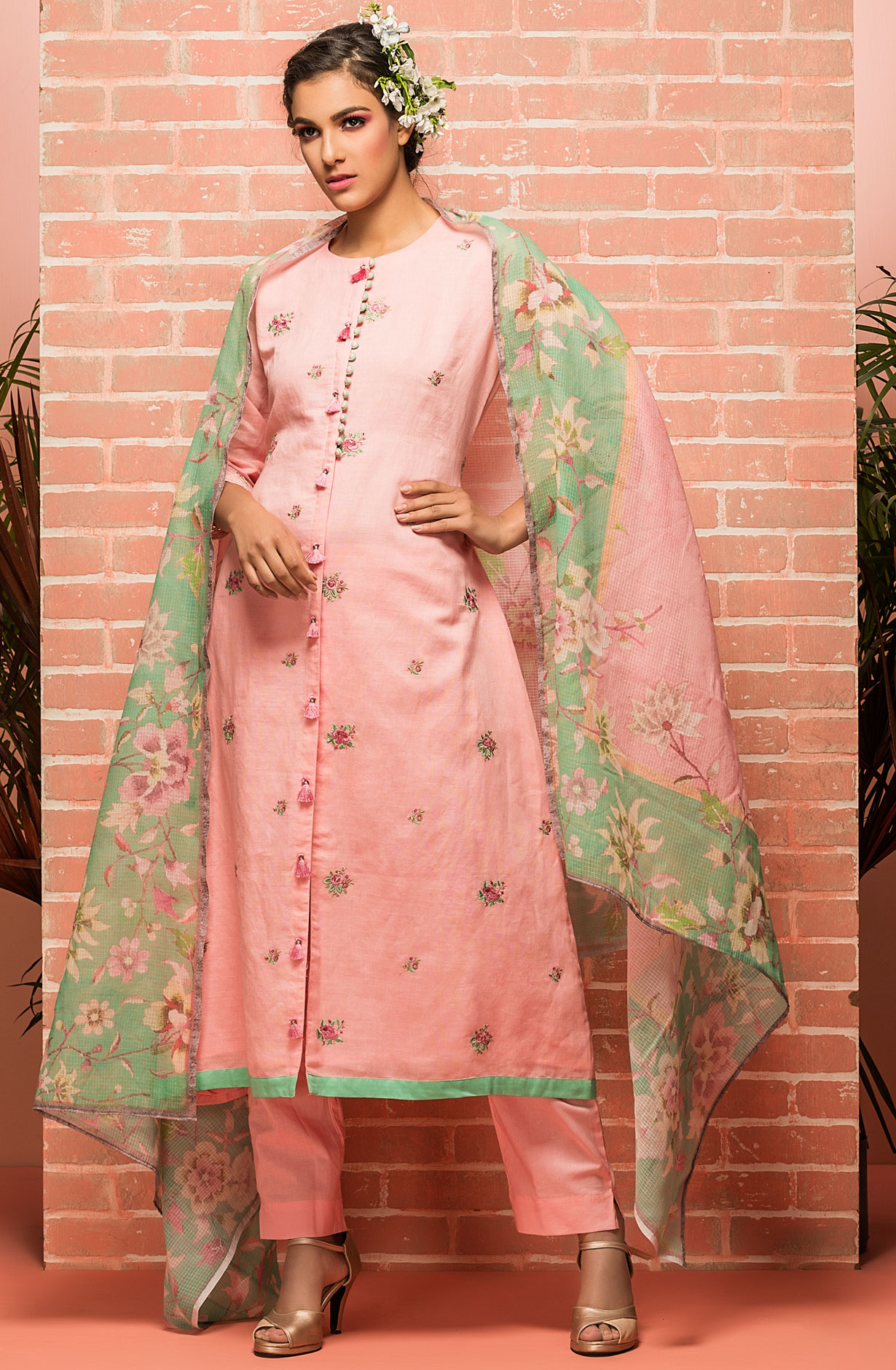 77c17a51ca4 Cotton Embroidery Salwar Suit Sets In Pink