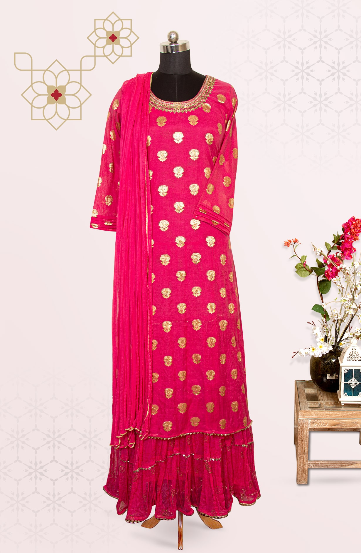 Pink Chanderi Exclusive Suit with Chiffon Dupatta - R150-R181A