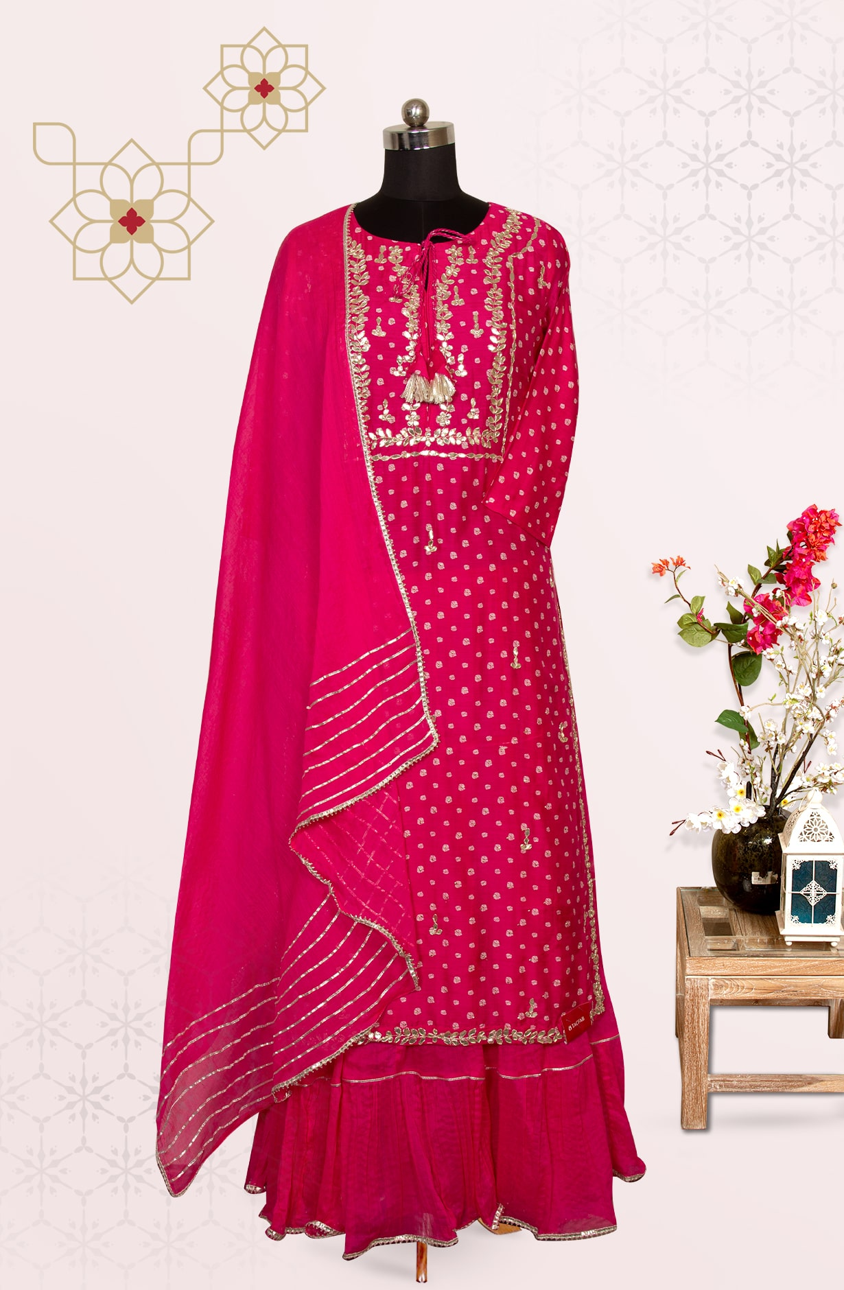 Pink Modal Cotton Designer Gota Patti Work Stitched Suit with Skirt and Dupatta - R155-61502