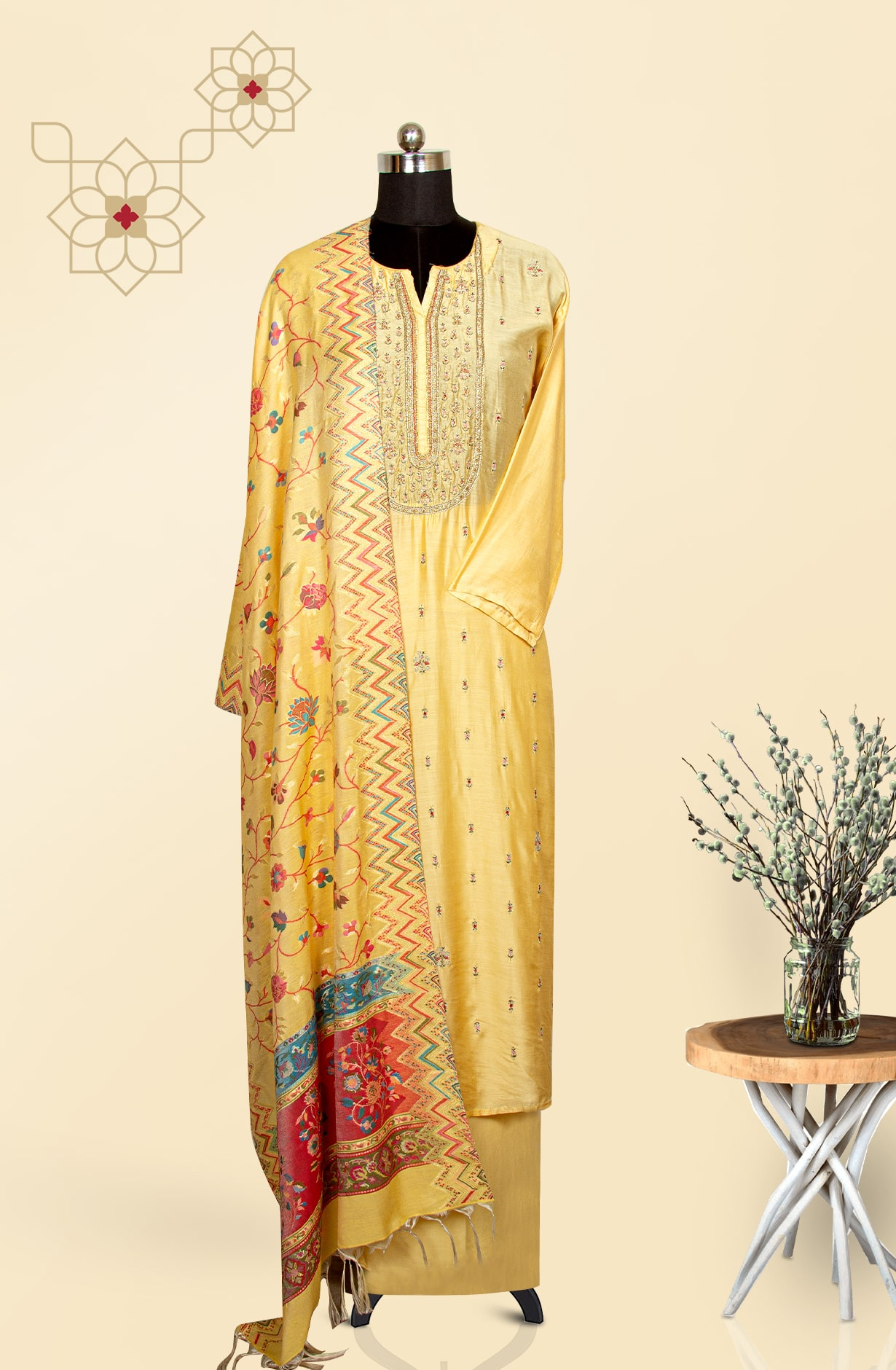 Designer Semi-stitched Exclusive Silk Salwar Suit Set In Yellow - R157-BANO4A