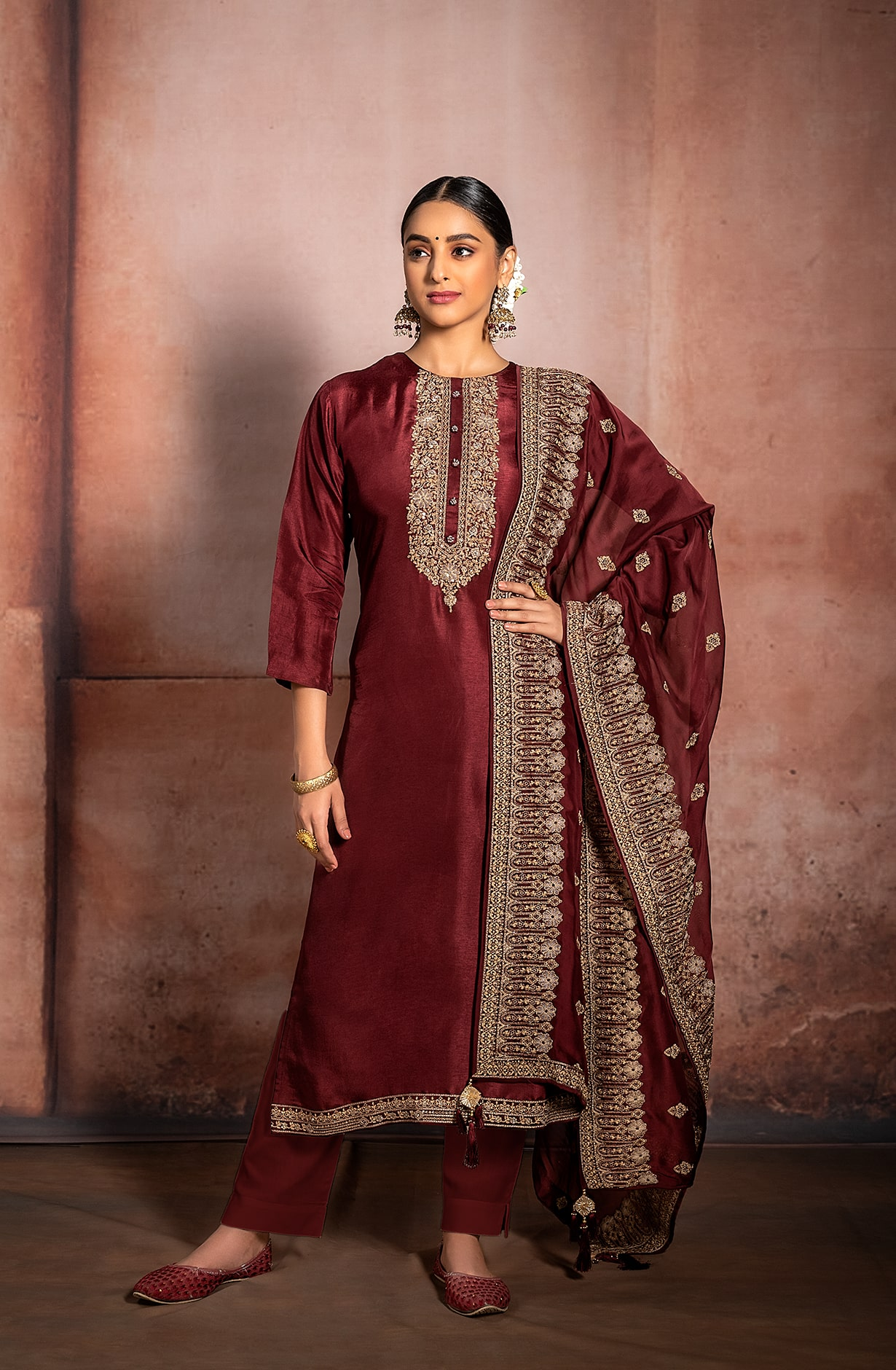 Maroon Russian Silk Exclusive Unstitched Suit with Beautiful Organza Dupatta - R157-SPR982