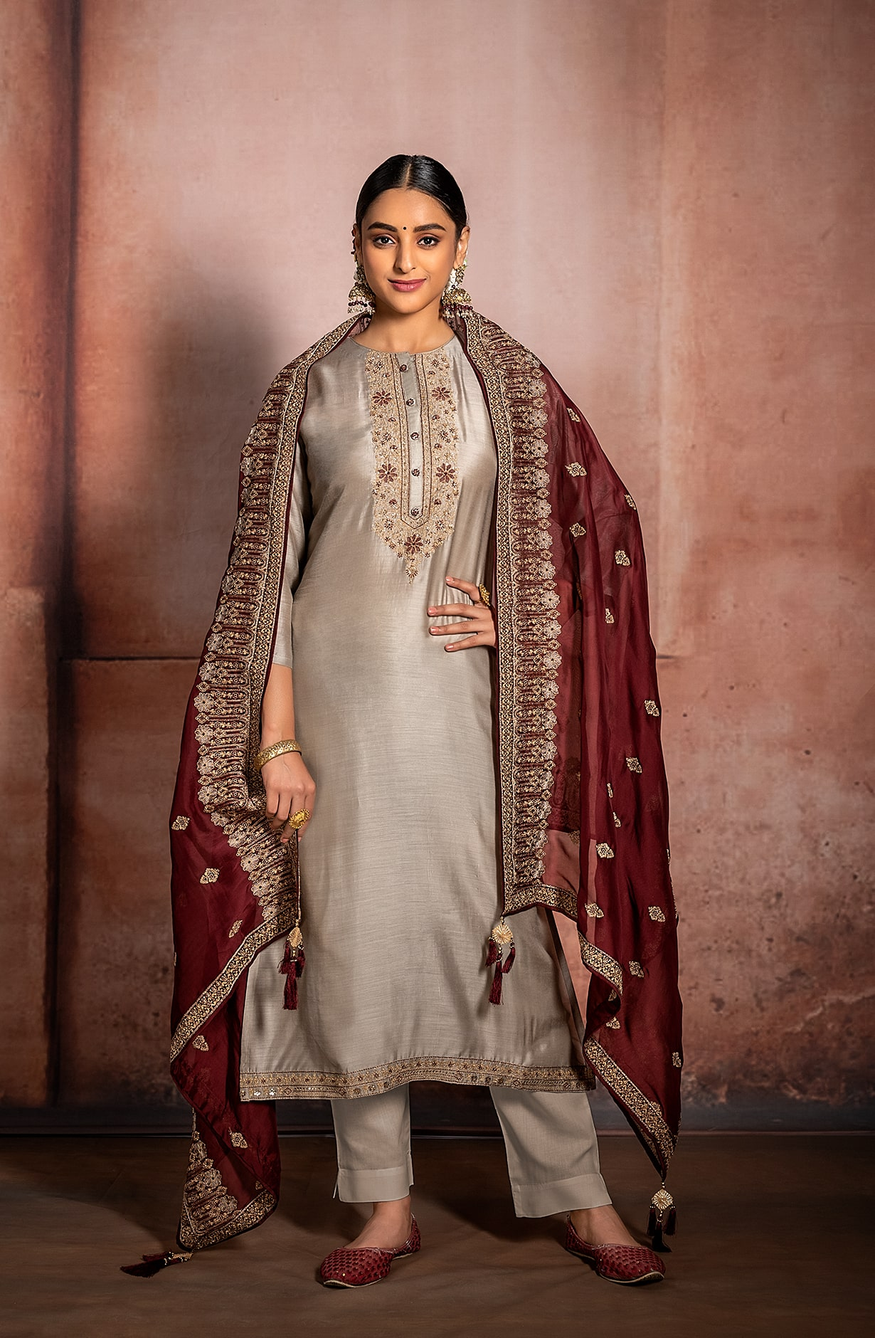 Grey Russian Silk Exclusive Unstitched Suit with Beautiful Organza Dupatta - R157-SPR982A