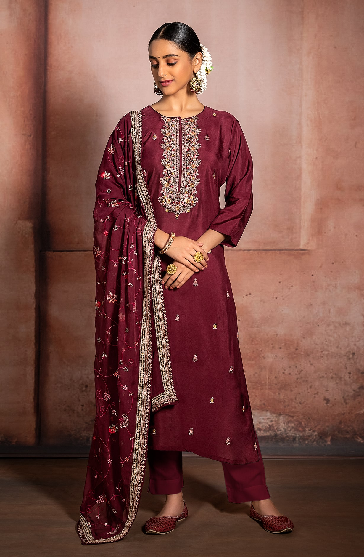 Maroon Russian Silk Exclusive Unstitched Suit with Organza Dupatta - R157-SPR991