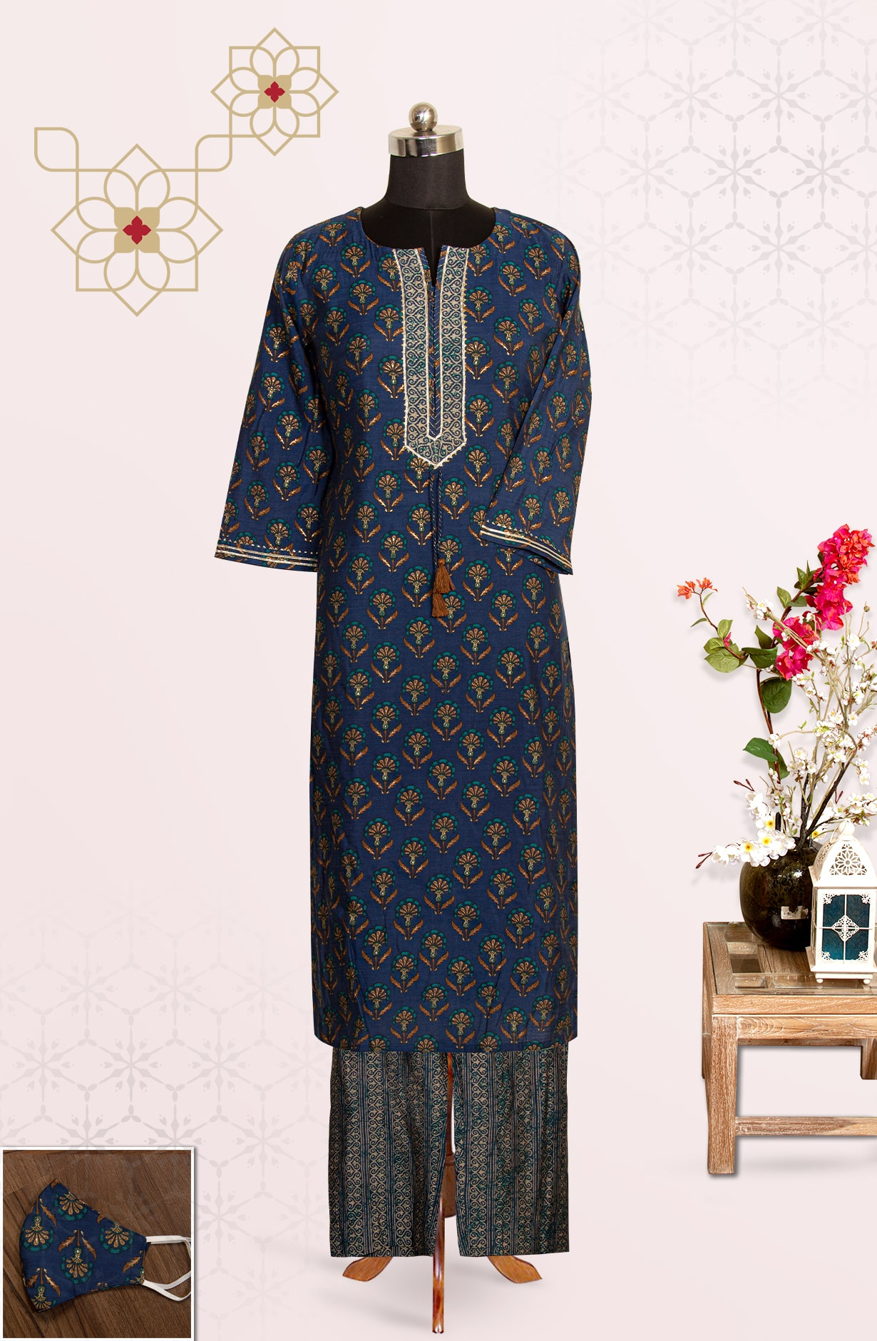 Blue Modal Cotton Printed Top Bottom Suit with Pants - R177-18590