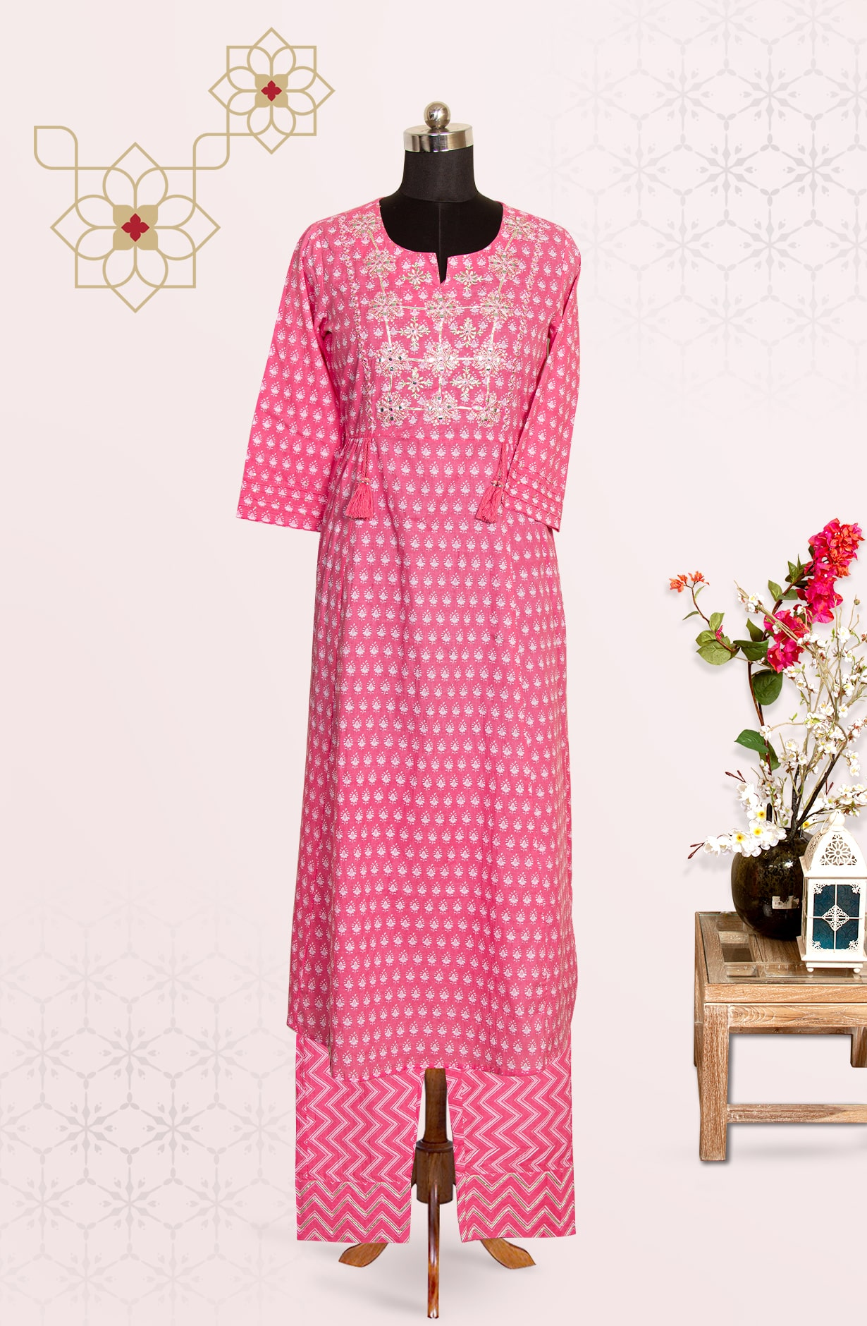 Pink Cotton Printed Top Bottom Suit with Pants - R177-2563