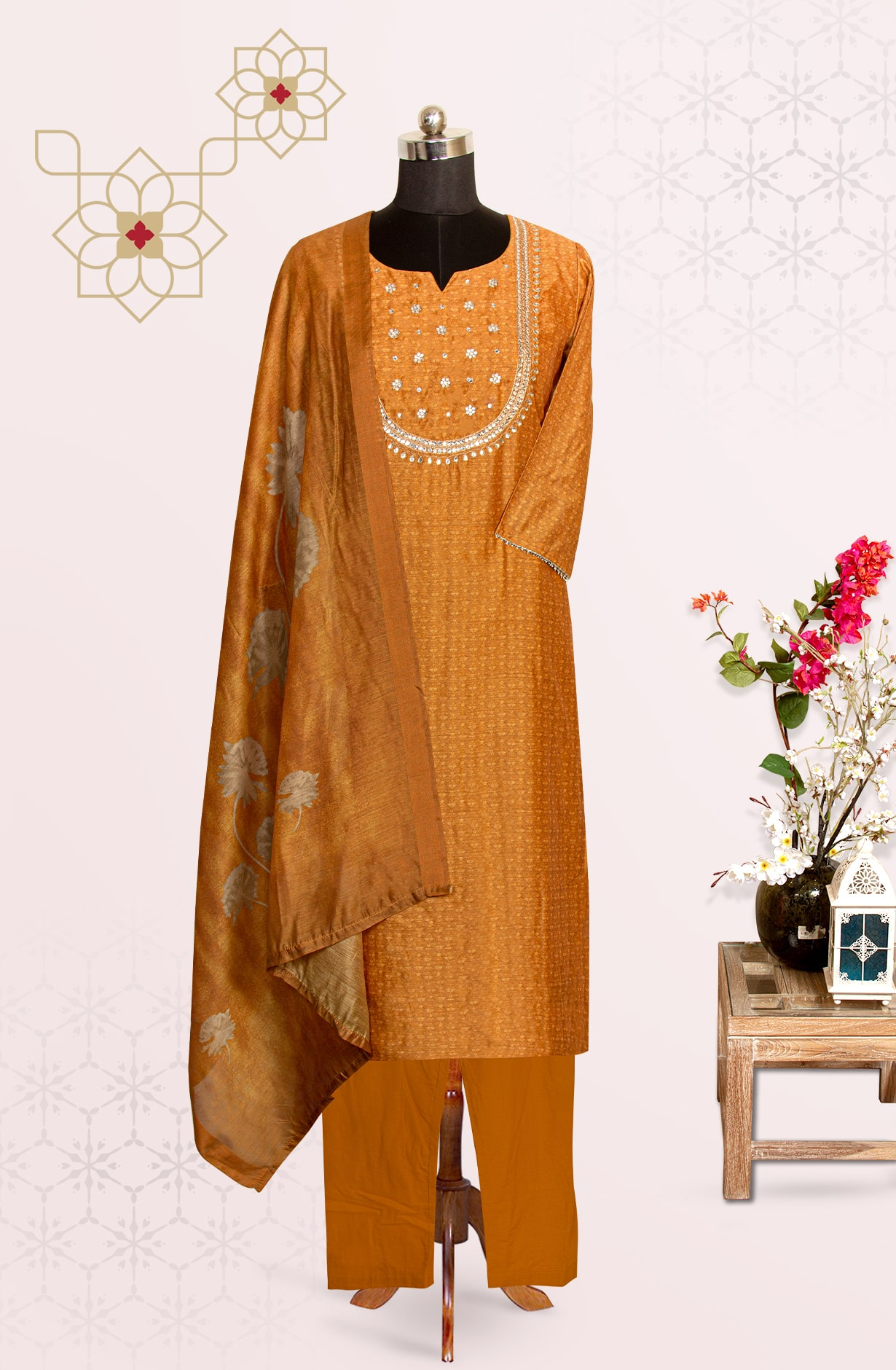 Mustard Chanderi Printed Readymade Suit Set with Pants - R177-28584A