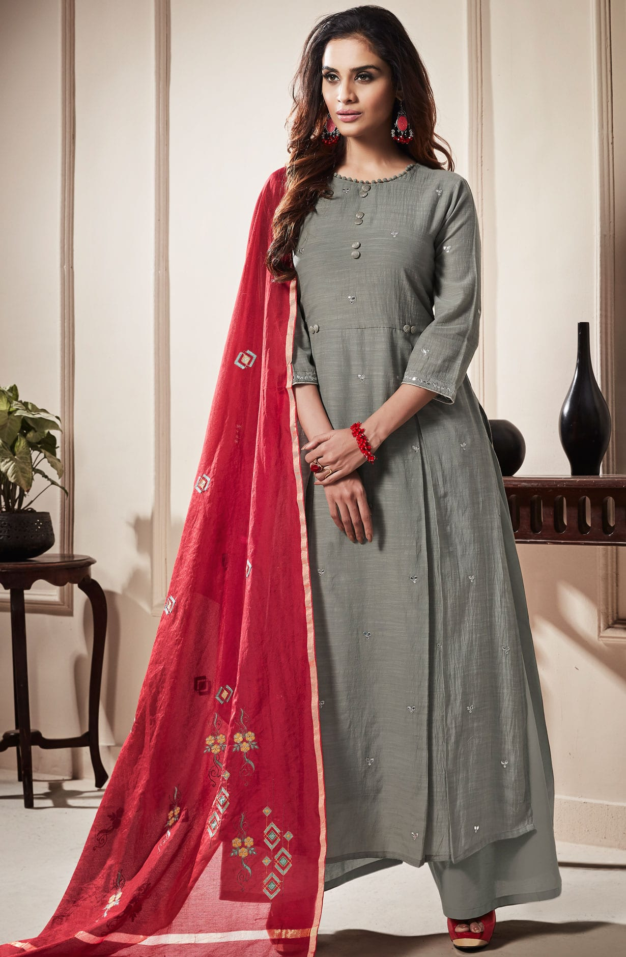 15f0a3e747f Festive Special Cotton Beautiful Semi-stitched Salwar Kameez In Pastel Green    Off-White