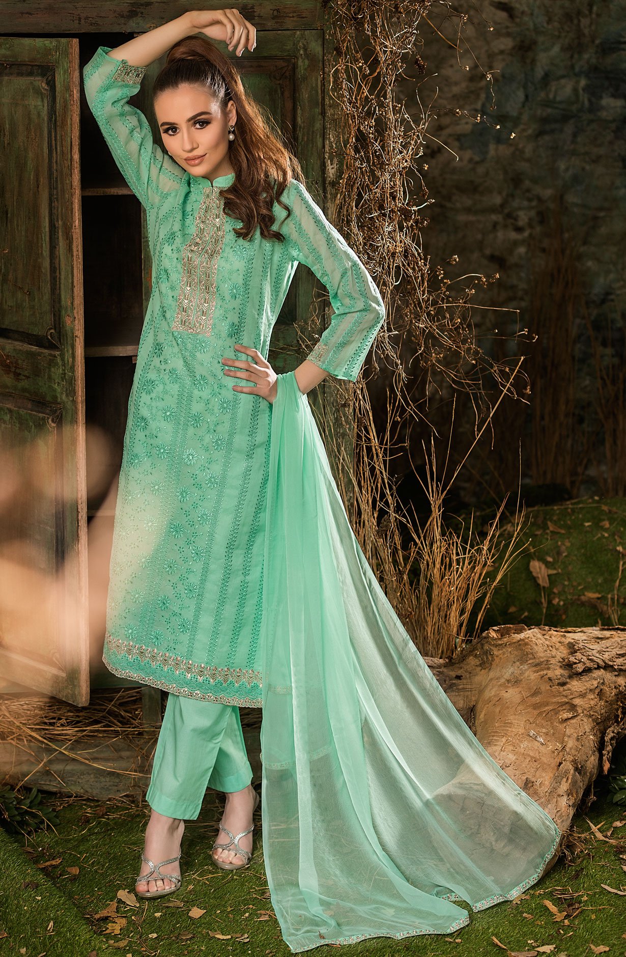 9220c5e464f Cotton Embroidered Sea Green Salwar Kameez Dupatta with Zari Work - ROY2522
