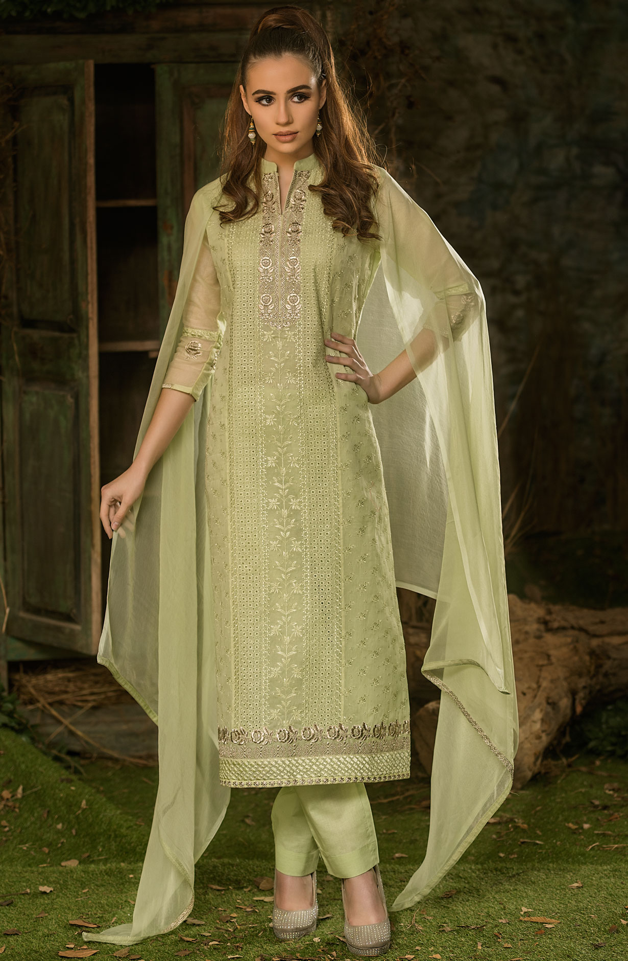 dd5ffe36ebd Cotton Embroidered Lime Green Salwar Kameez Dupatta with Zari Work ...
